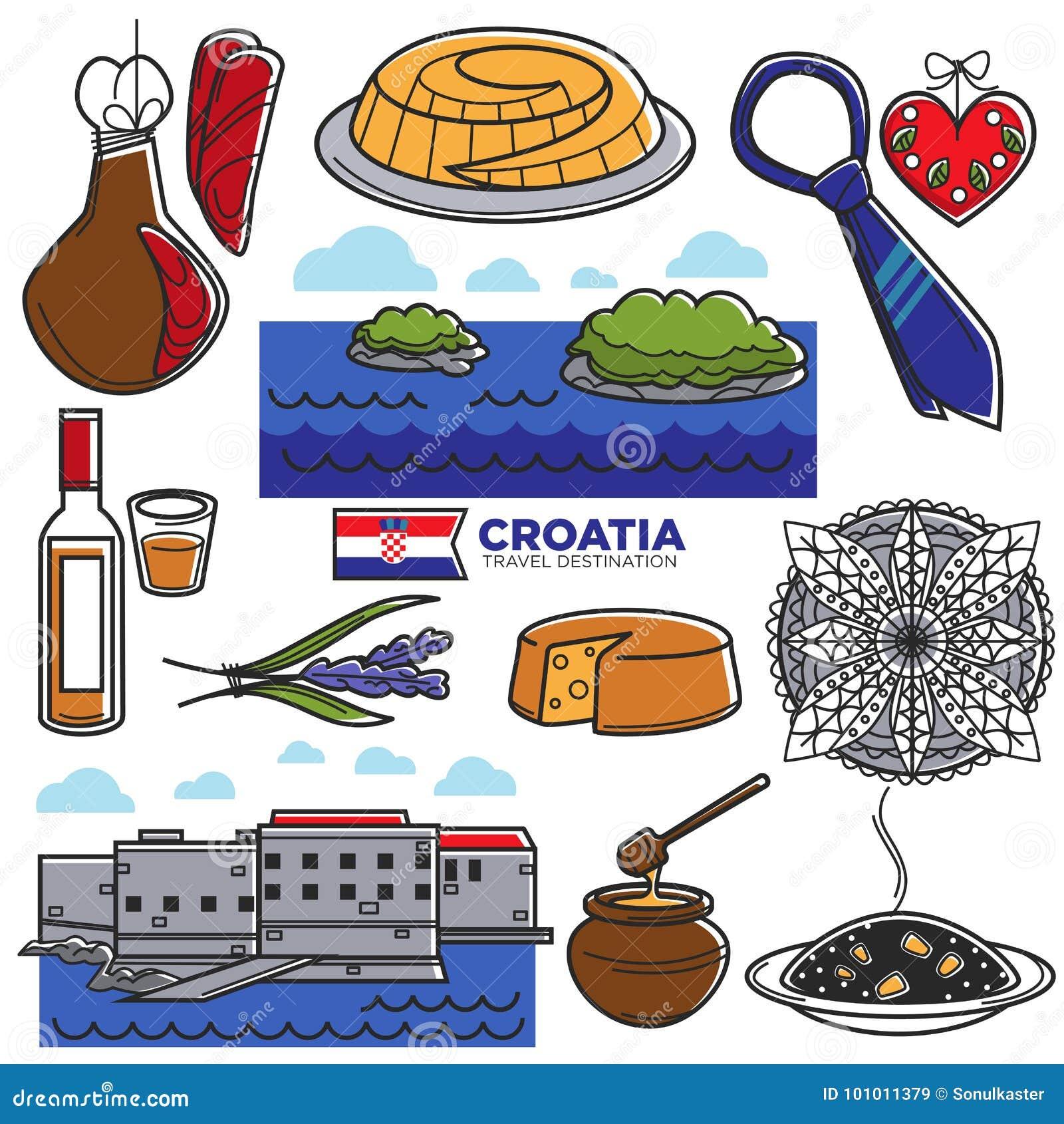 Berühmte Symbole Der Kroatien-Tourismusreise Und Touristische ...