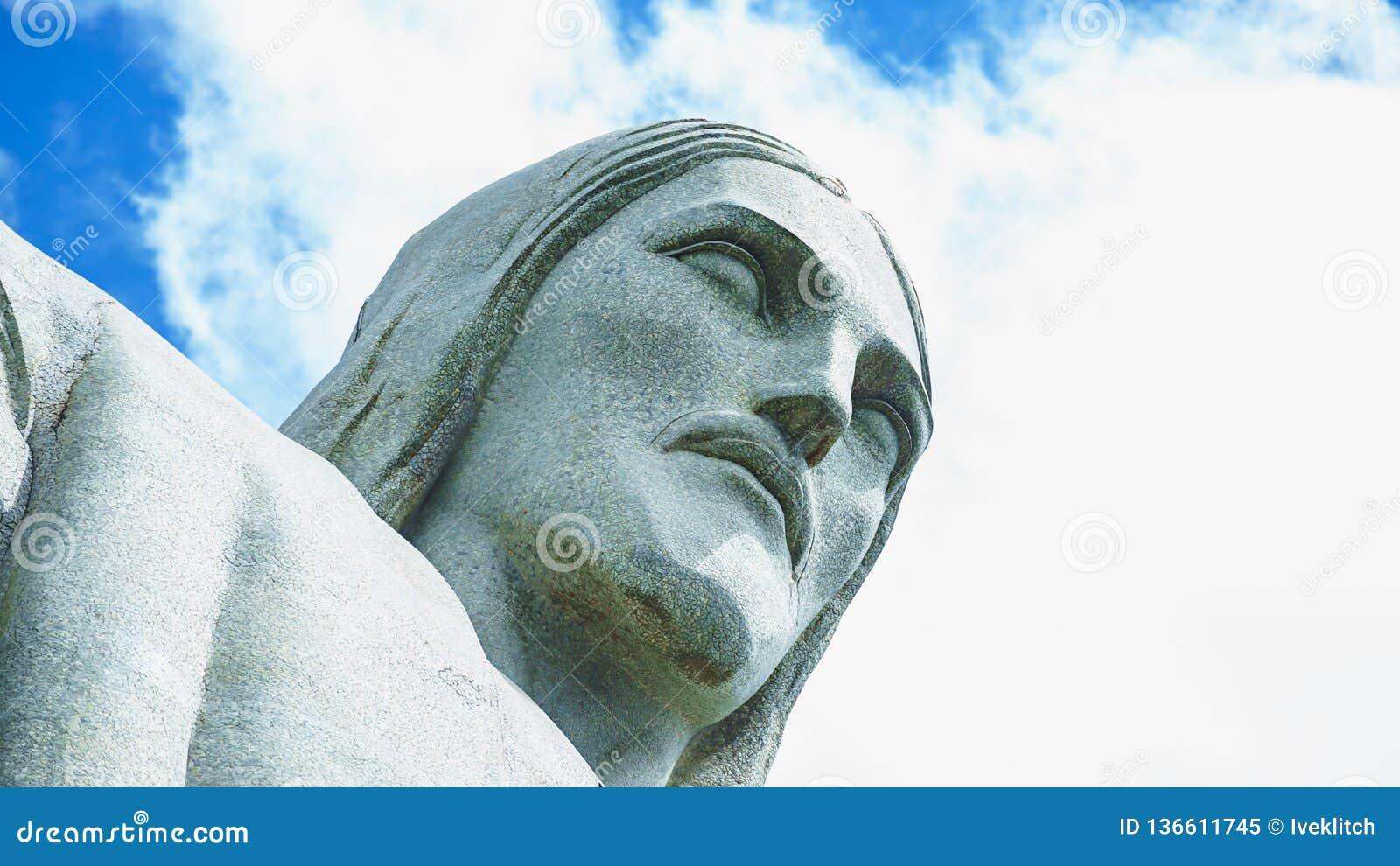 Berühmter Christus der Erlöser in Rio de Janeiro, Brasilien Gesicht von Christus der Erlöser