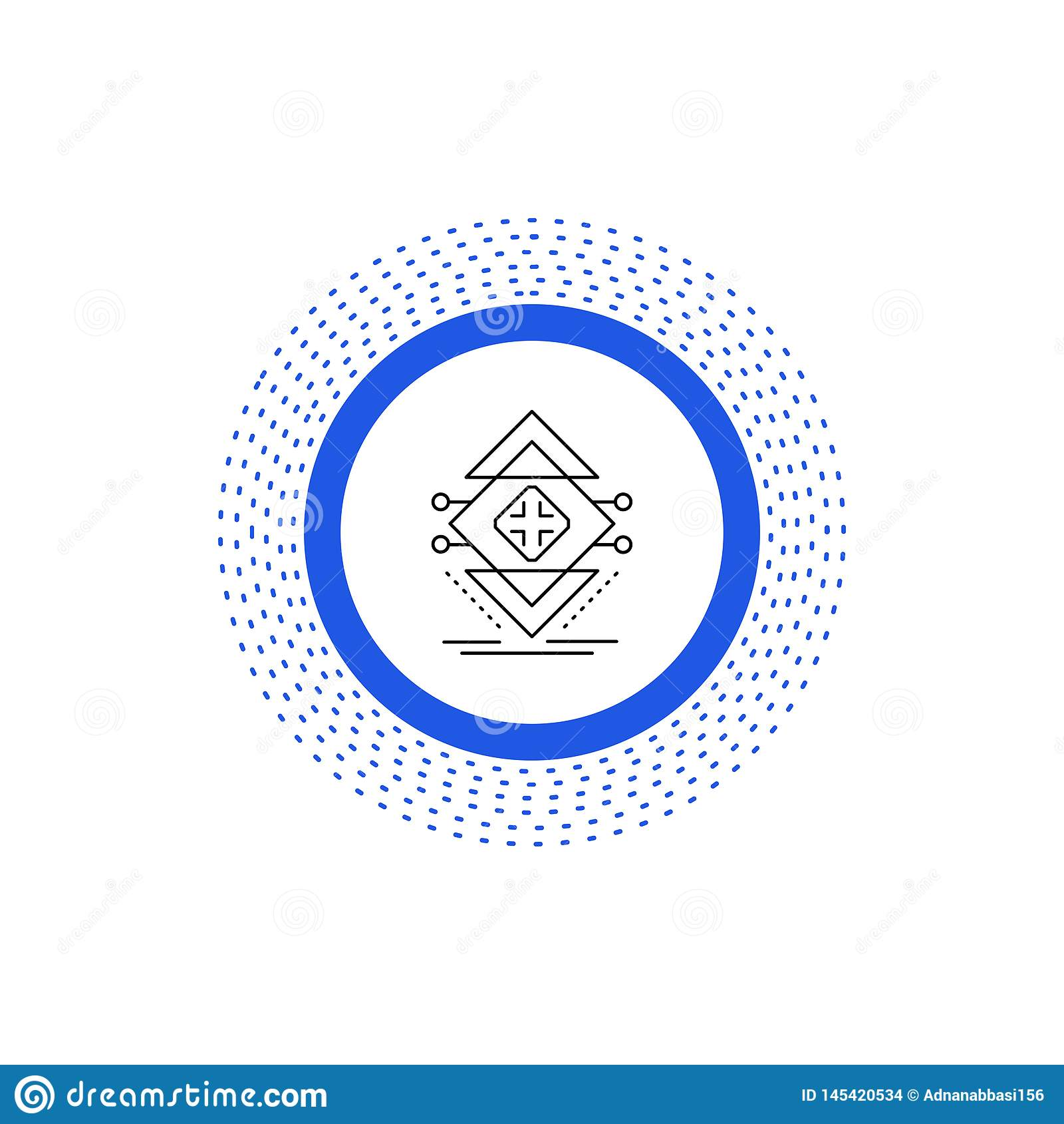 Ber?kna data, infrastruktur, vetenskap, strukturlinje symbol Vektor isolerad illustration