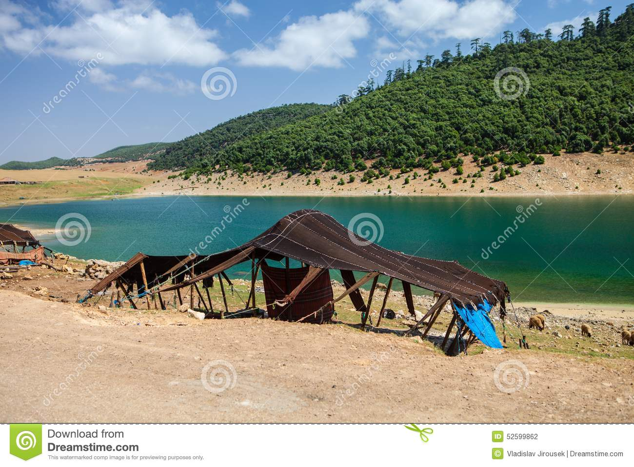 Berber Tent By The Lake, Near Aguelmame, Morocco Stock Photo