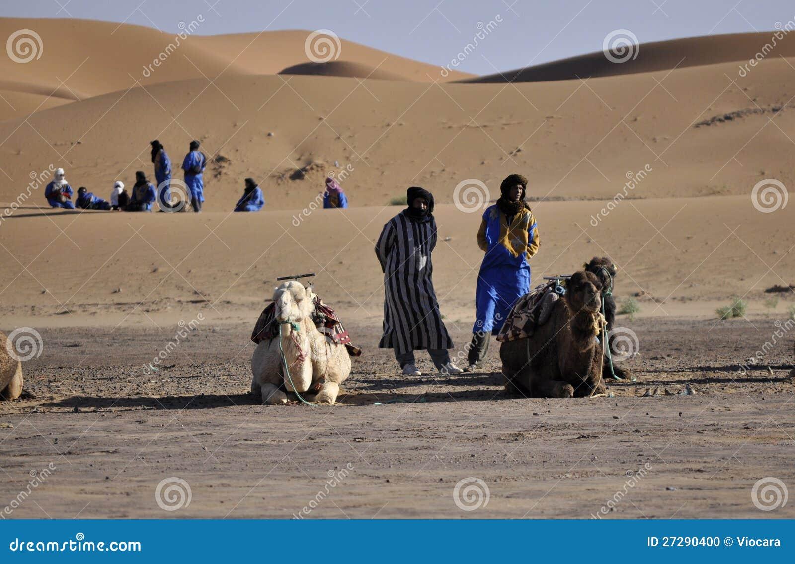 Berbers avec des chameaux aux dunes, april16,2012