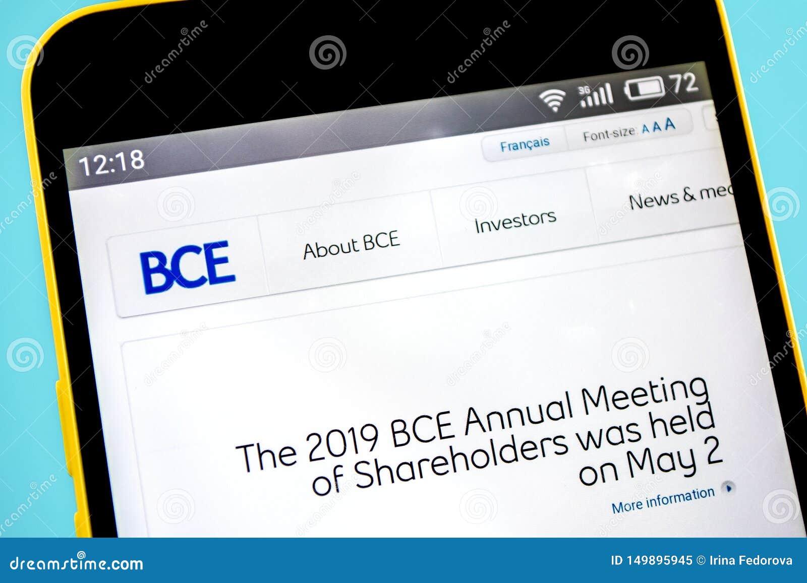 Berdyansk, Ucrania - 14 de mayo de 2019: Editorial ilustrativo del homepage de la página web de BCE Logotipo de BCE visible en la