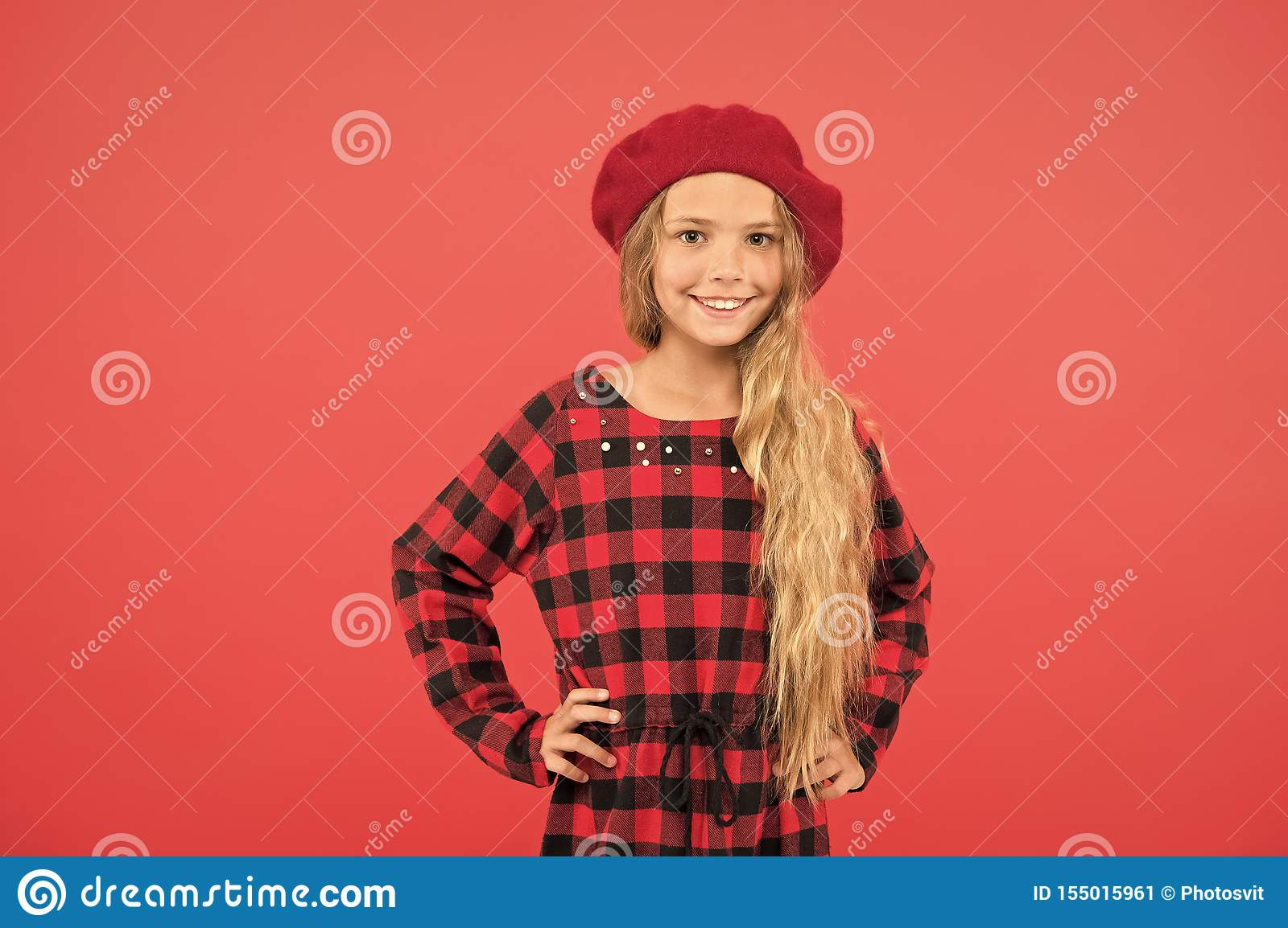 Beret style inspiration. Wear beret like fashion girl. Kid little cute girl with long blonde hair posing in beret hat