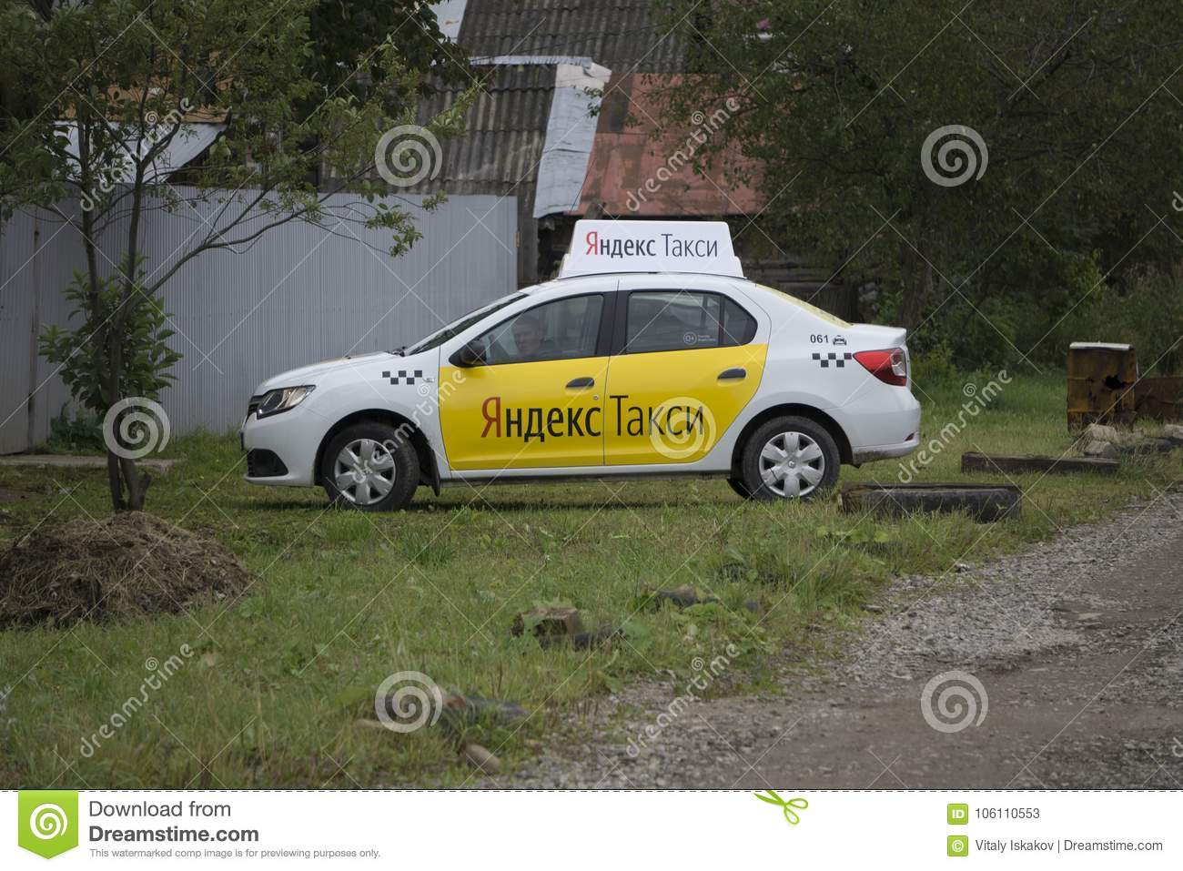 Berezniki, RUSSIA - September 11, 2017 : Yandex Taxi At The City