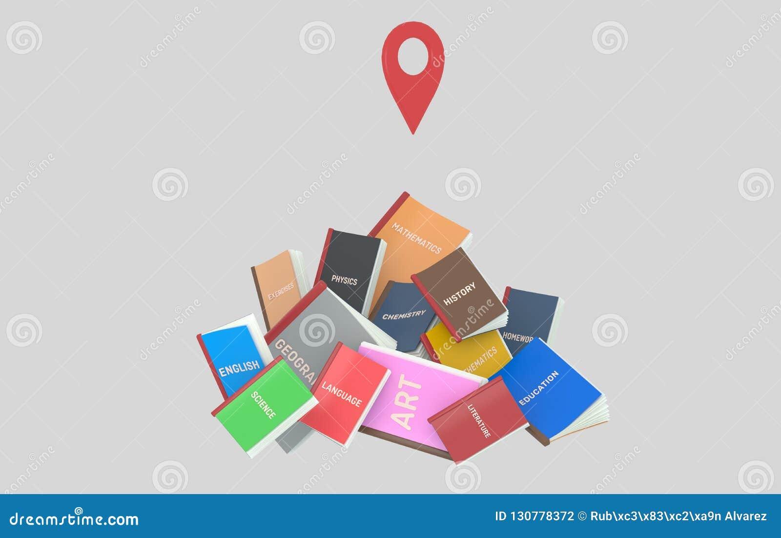 Berg av studentböcker GPS illustration 3d