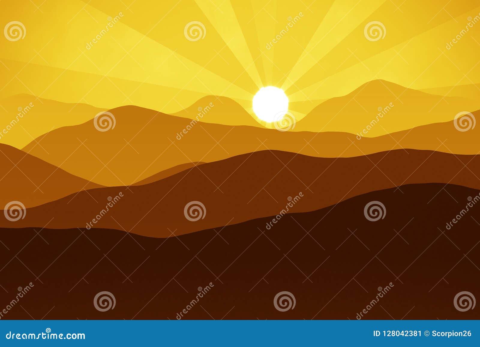 Berg bij zonsondergang