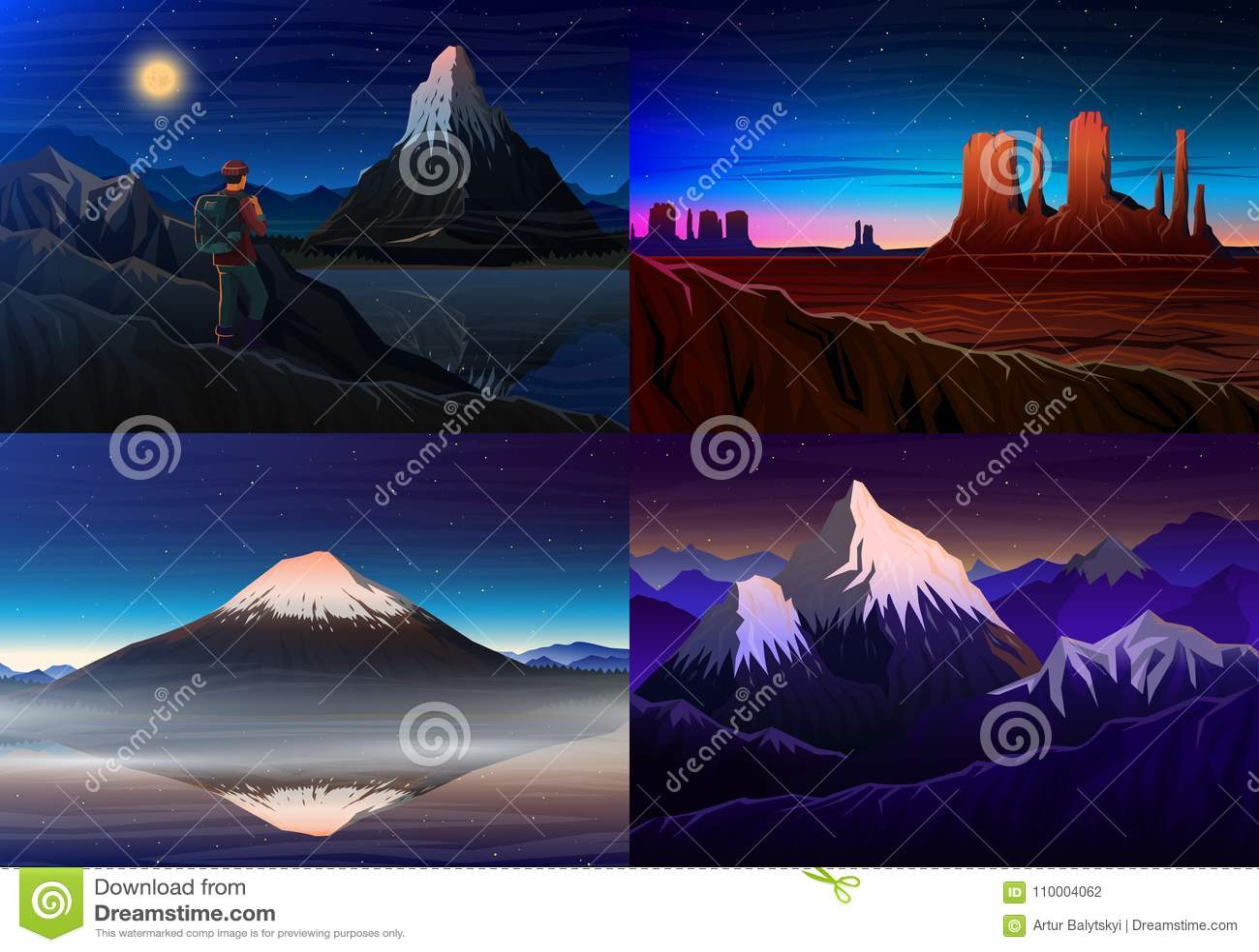 Berg everest, matterhorn, Fuji med turisten, monumentdal, nattpanoramautsikt, maxima, landskap tidigt in
