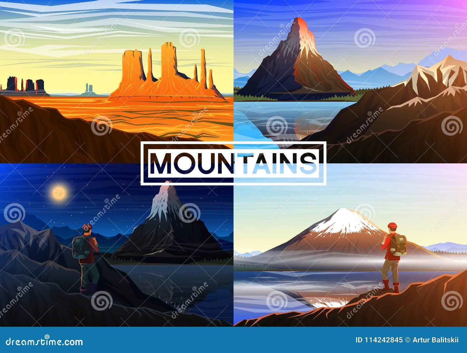 Berg everest, matterhorn, Fuji med turisten, monumentdalen, morgonpanoramautsikt, maxima och landskap utomhus-