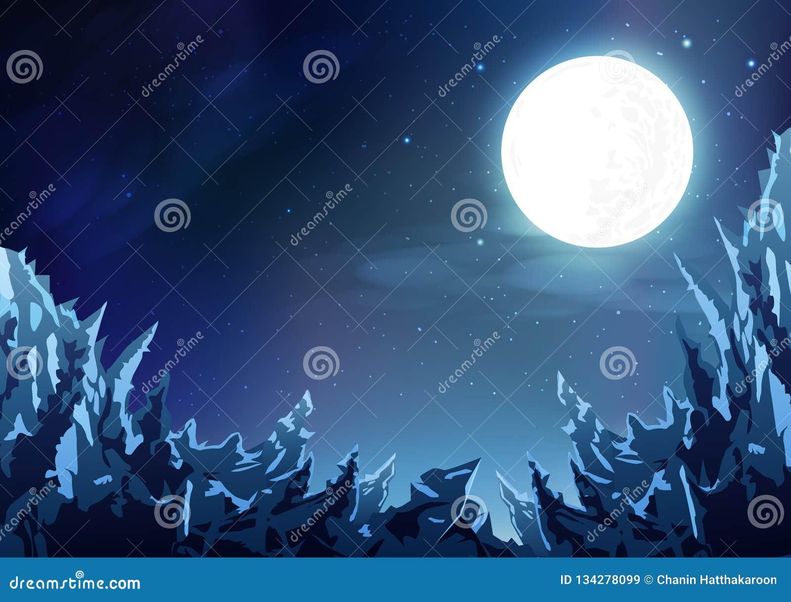 Berg gör sammandrag bakgrund, plats för molnig himmel för natt för ispanoramafantasi magisk med fullmånen, stjärnor sprider på ga