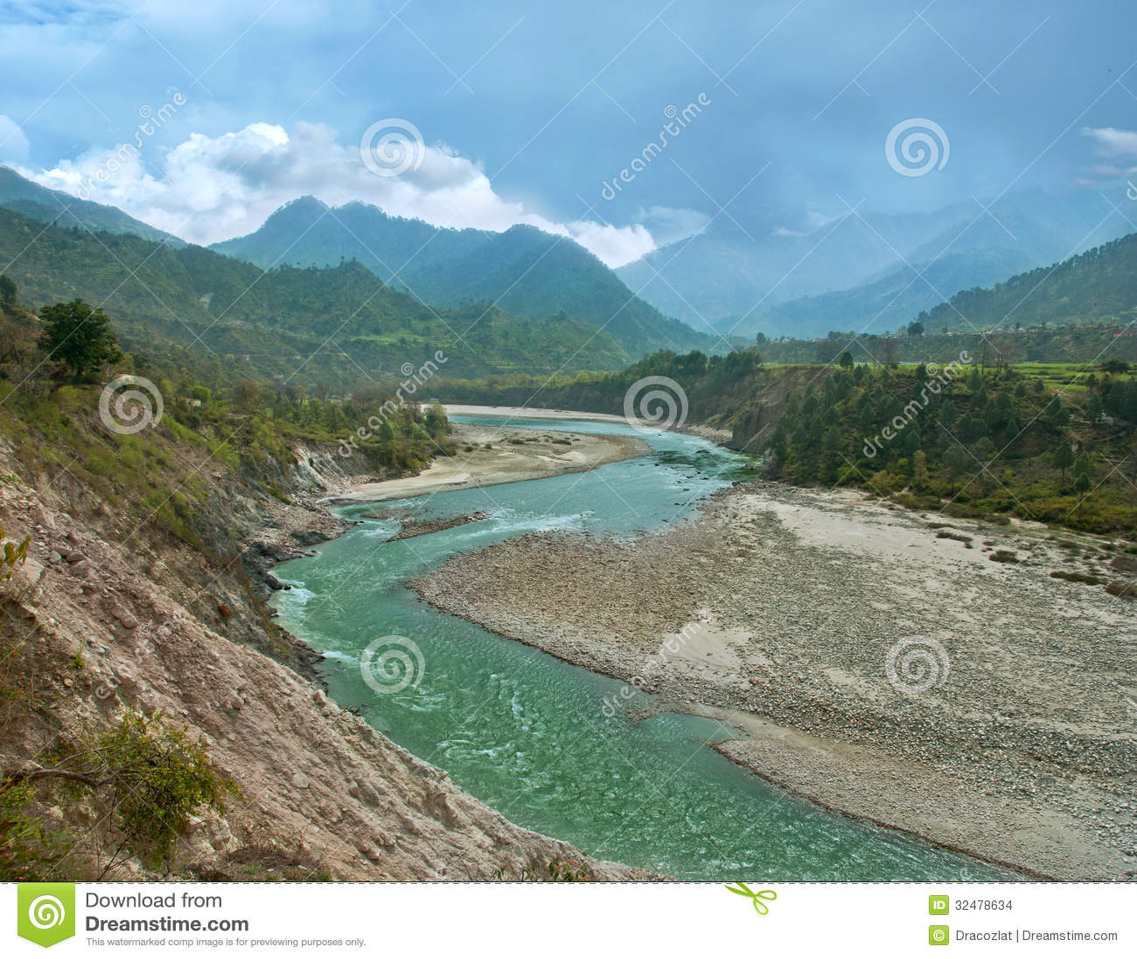 BergAlaknanda flod i himalayasna