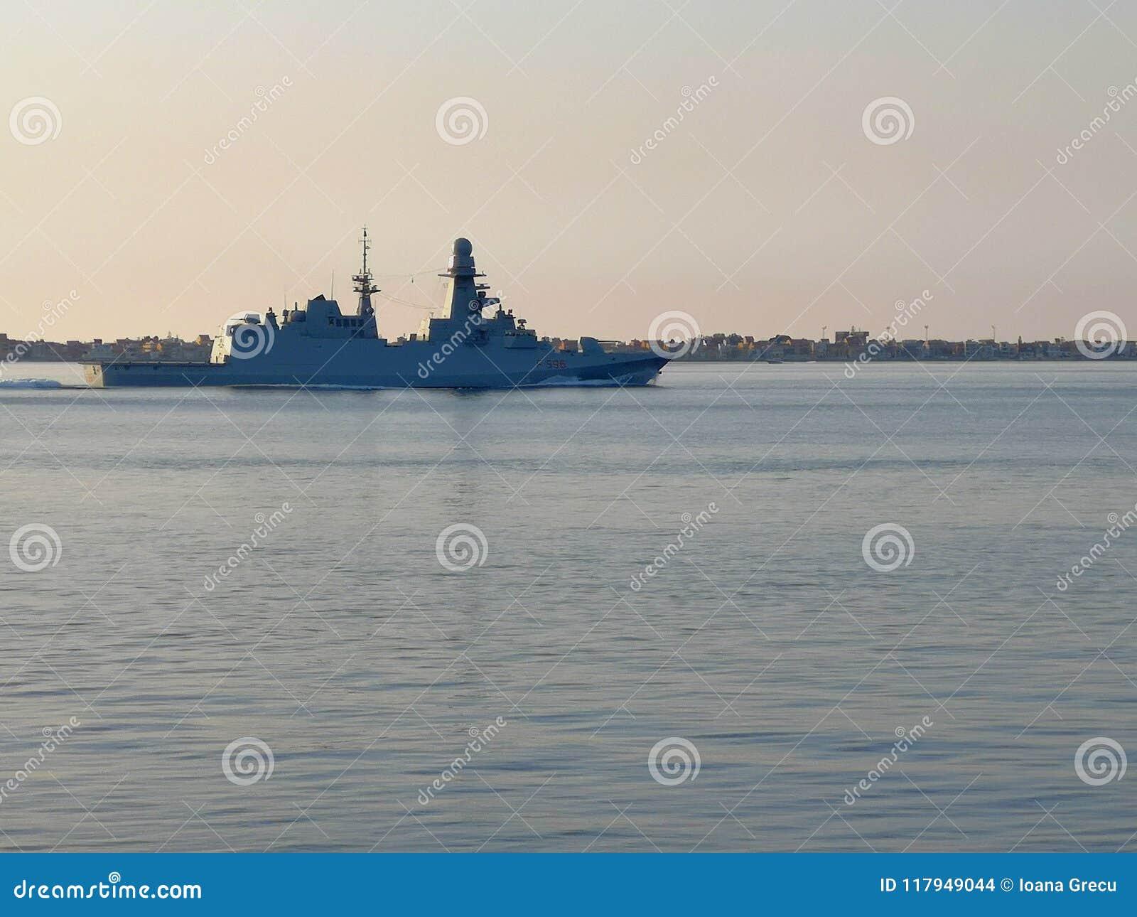 Bergamini class Missile frigate Federico Martinengo passing through the Strait of Messina