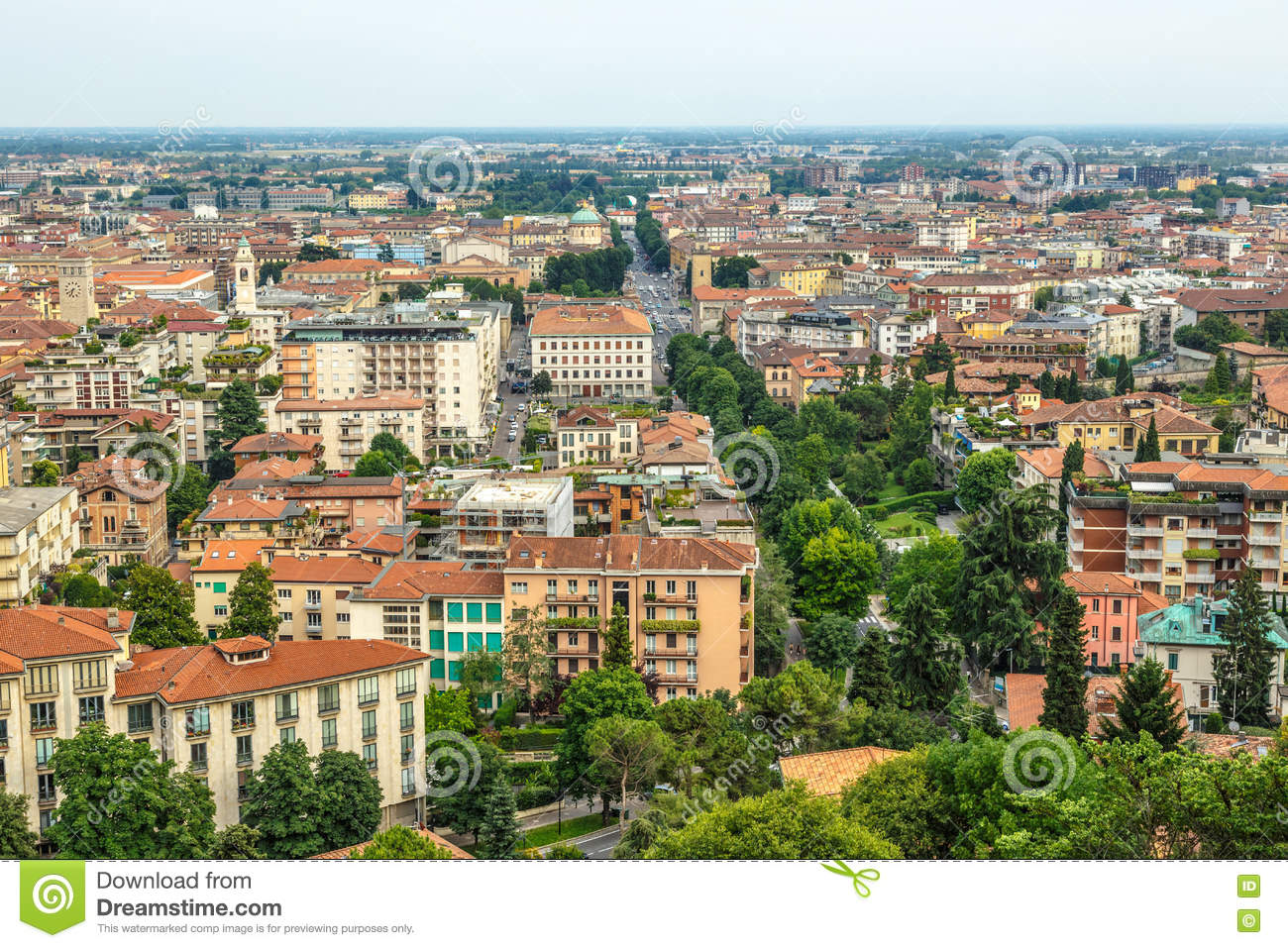 Bergamo city view from above