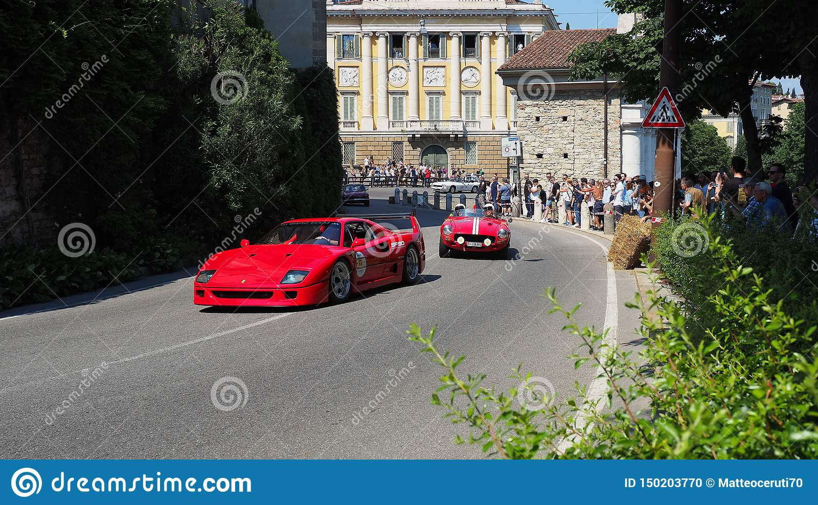 Bergamo, Italy. Historical Gran Prix. Parade of historic cars along the route of the Venetian walls that surround the old city