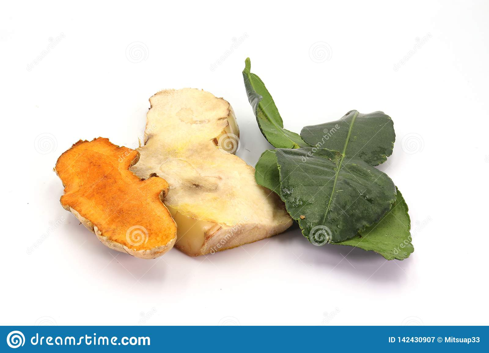 Bergamot leaf is Herbs isolated on white background