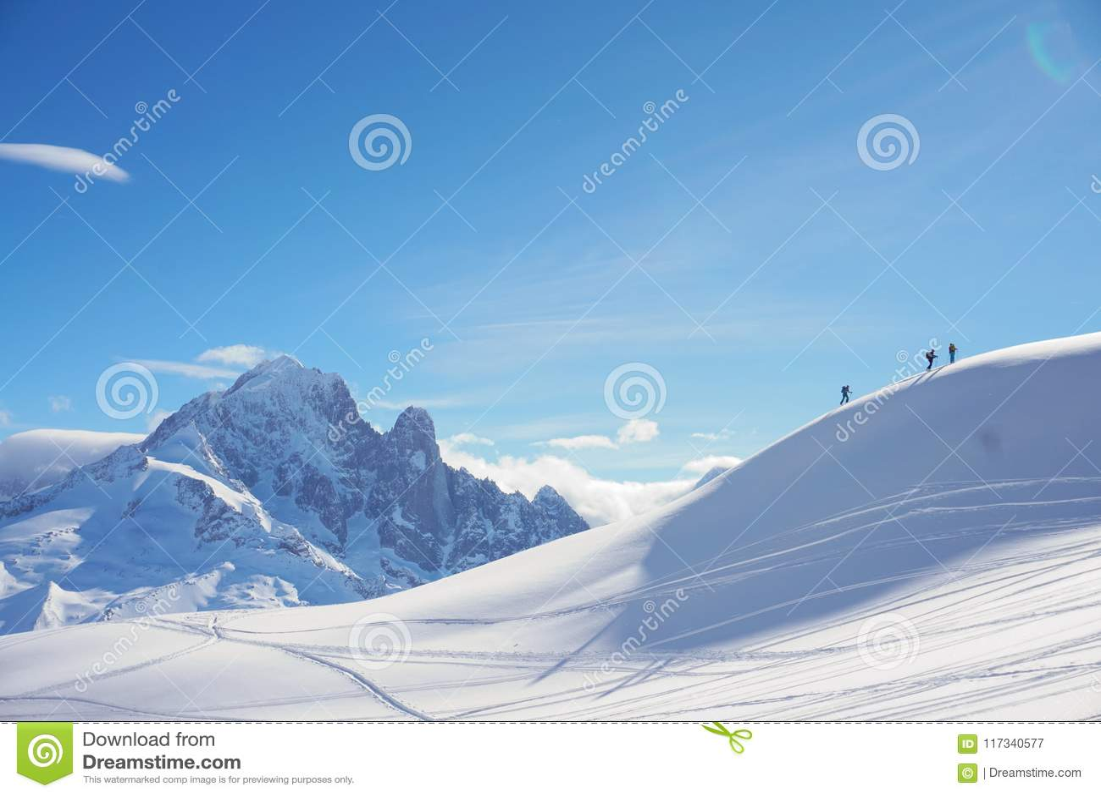 Bergblicke in Chamonix während Ski Touring