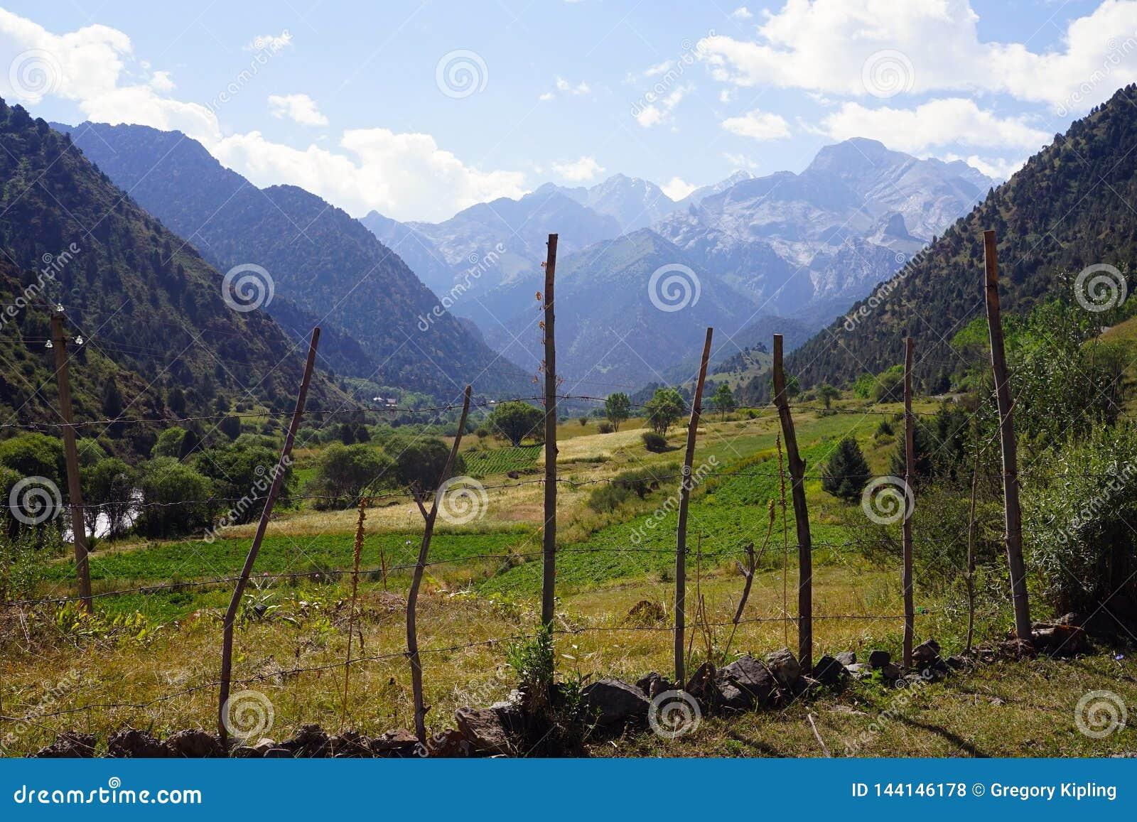 Bergdal nära kirgiziska Ata National Park, Kirgizistan