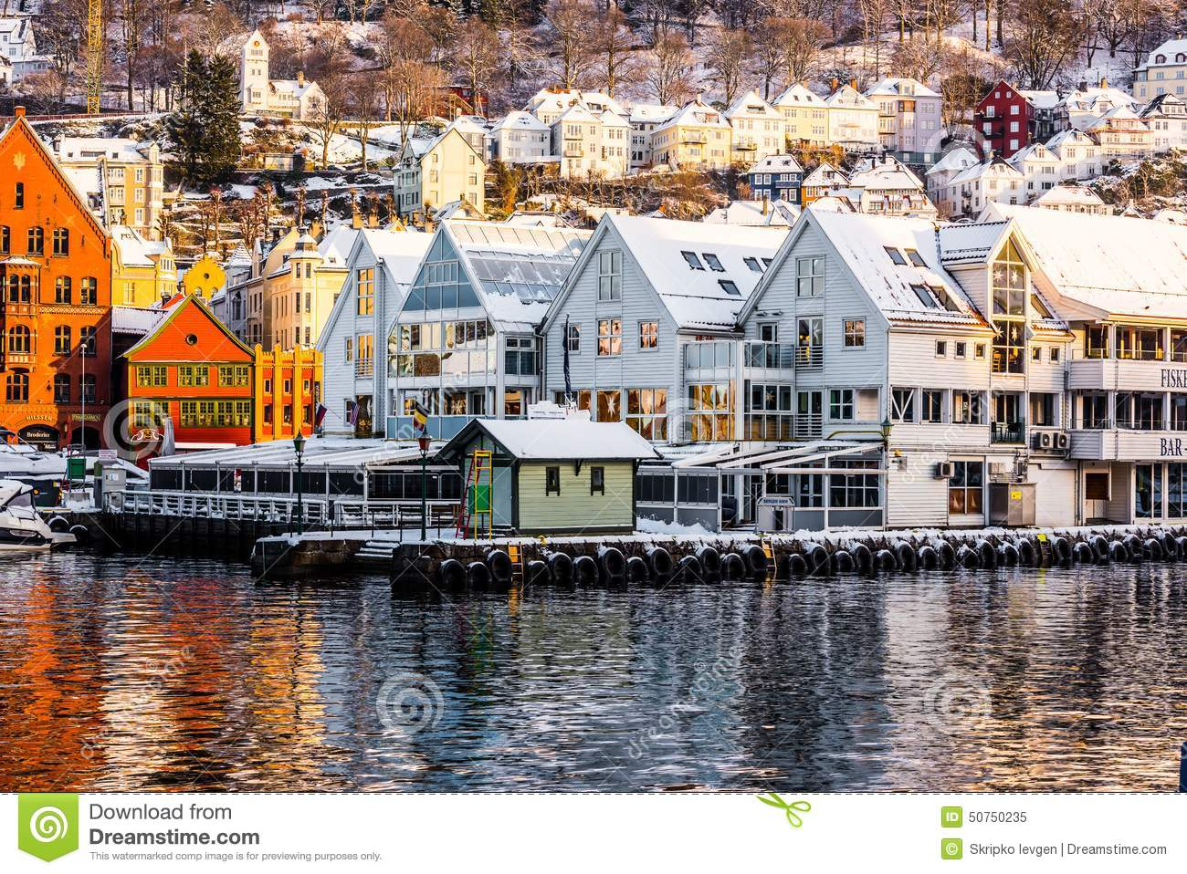 Bergen at Christmas editorial image. Image of fjord, color ...
