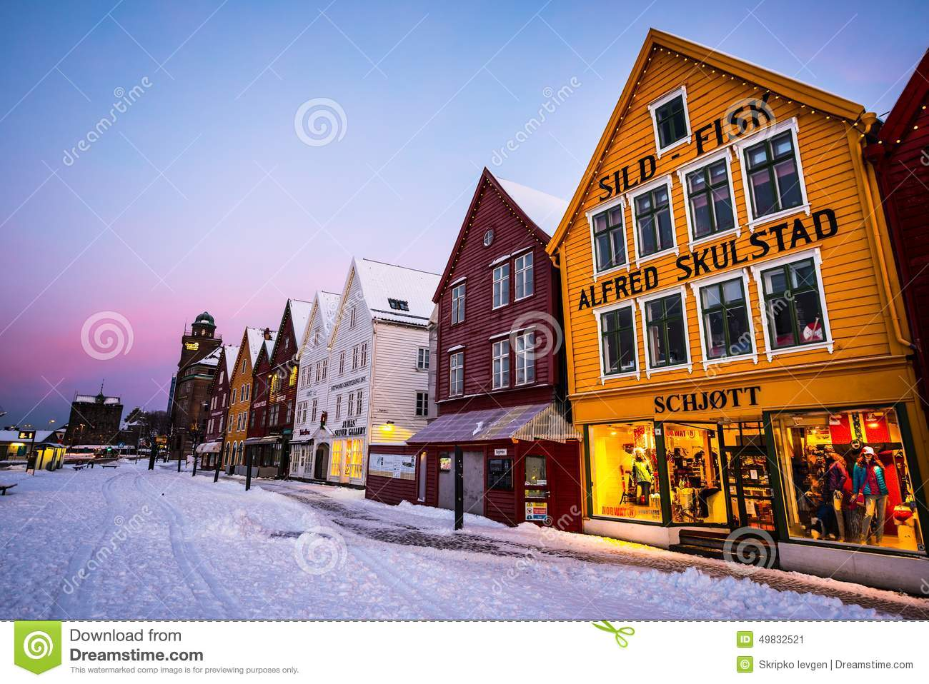 Bergen at christmas editorial photo image of golden