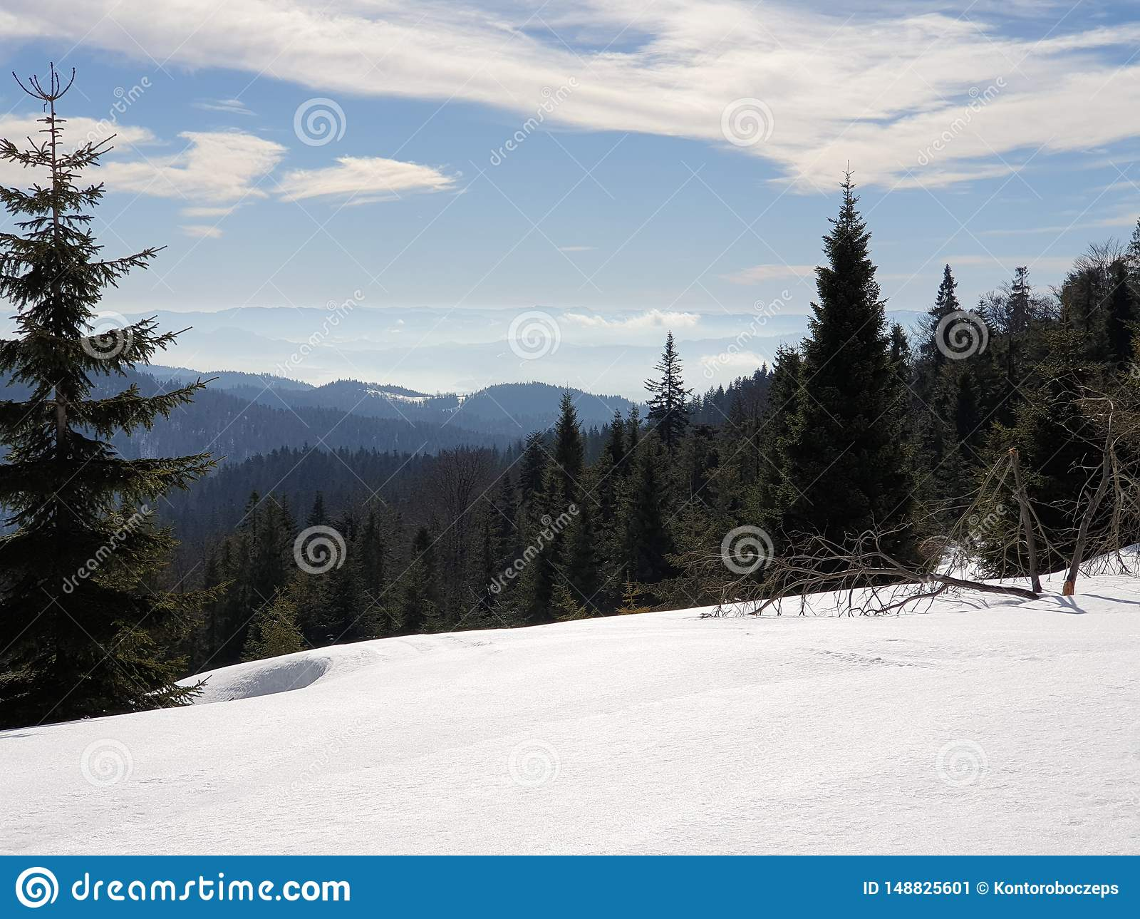 Bergen in de wintertijd van Polen