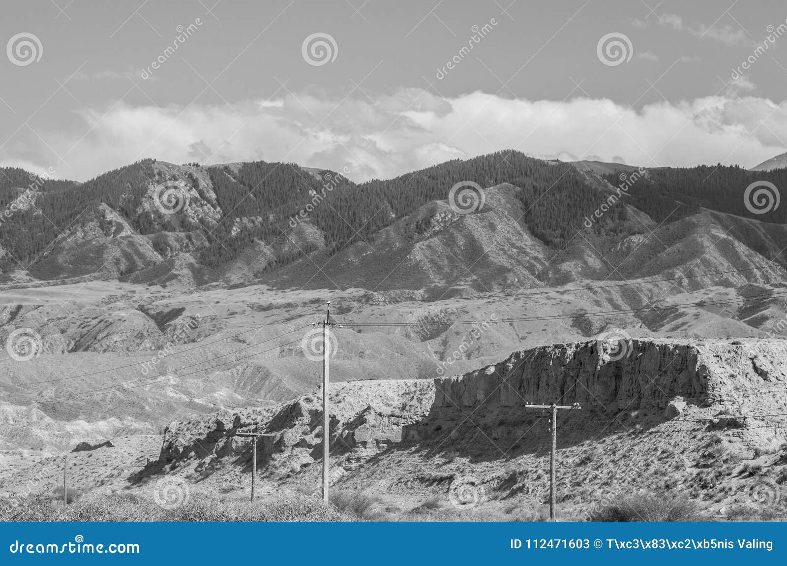 Bergen dichtbij het meer van Issyk- Kul in Kyrgystan tijdens zomer