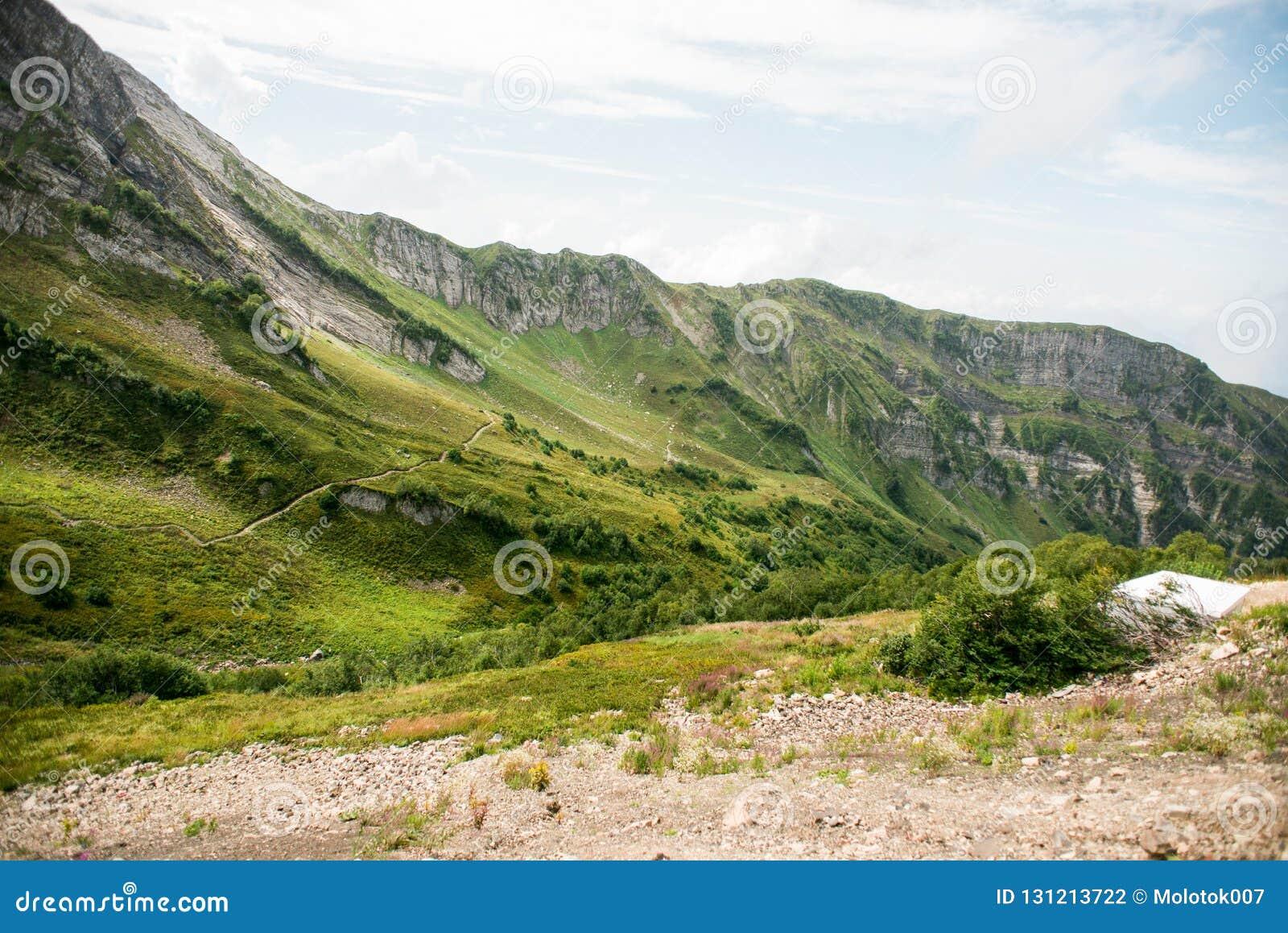 Bergen met Alpiene Weiden in Sotchi Krasnaya Polyana