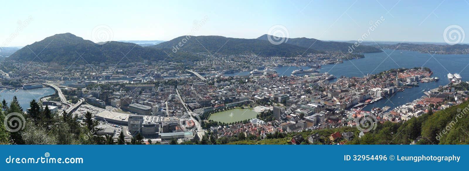 Bergen Norway Harbor Panorama
