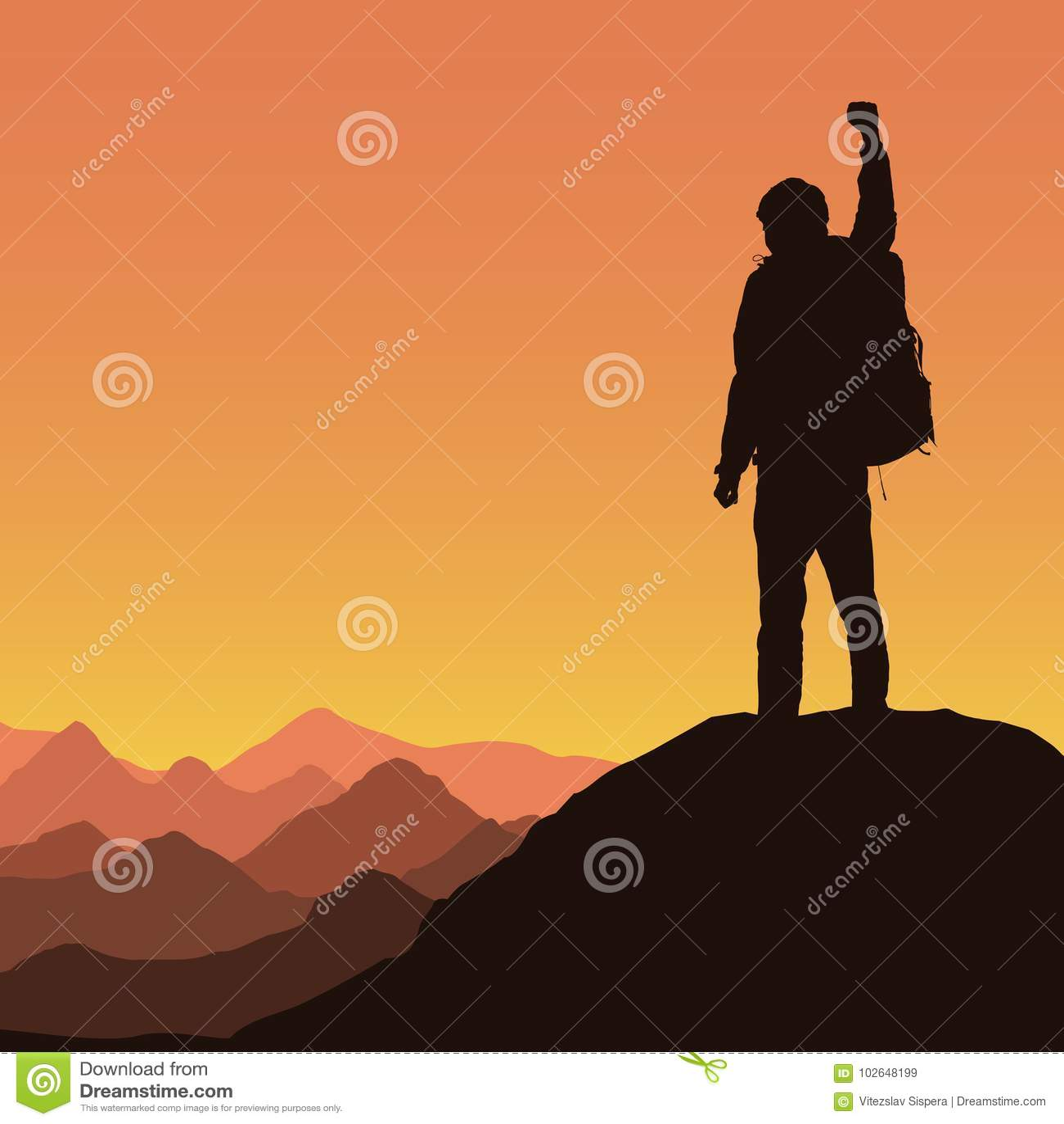 Berglandschaft mit Bergsteiger