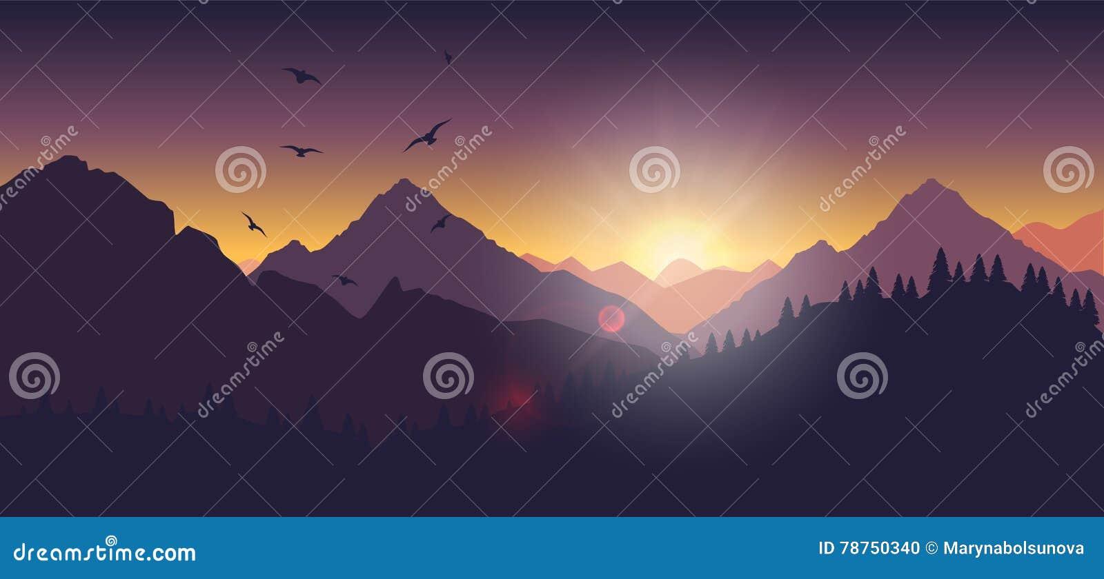 Berglandschap bij zonsondergang en dageraad