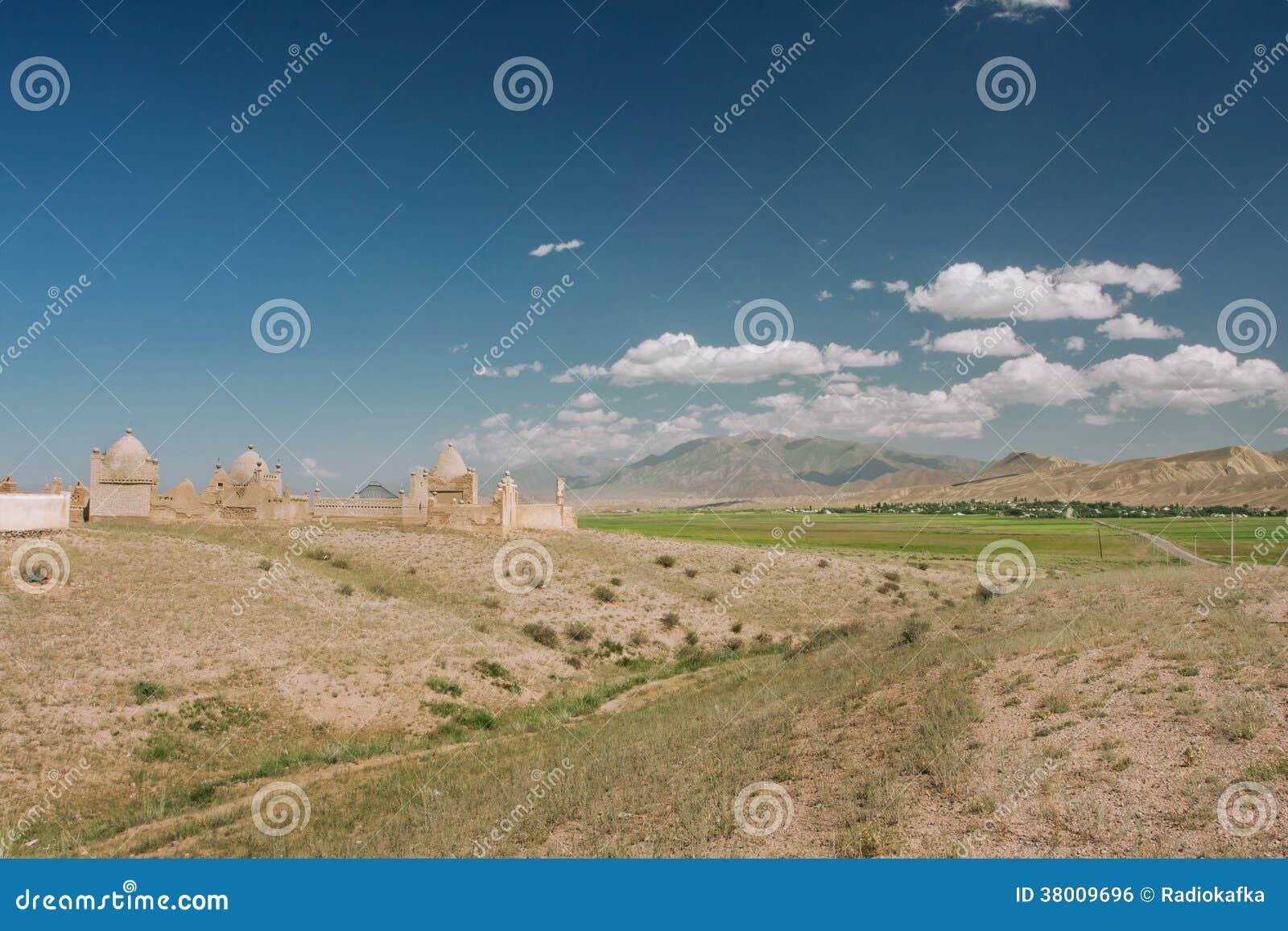 Berglandschap met historische Moslimbegraafplaats in het Midden-Oosten