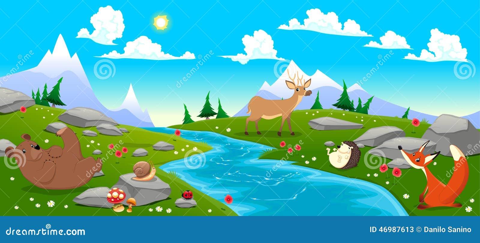 Berglandschap met rivier en dieren