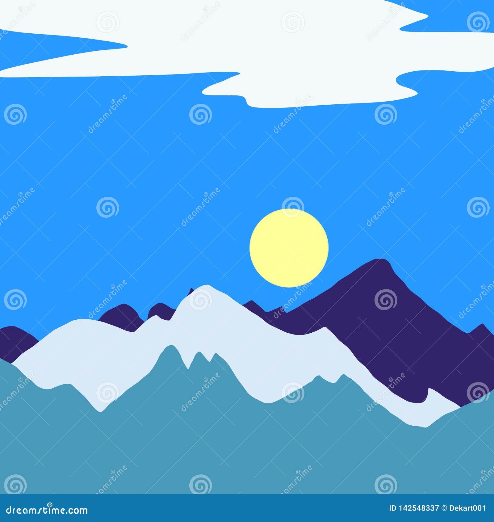 Berglandskap med den härliga sikten, gul sol, blå himmel