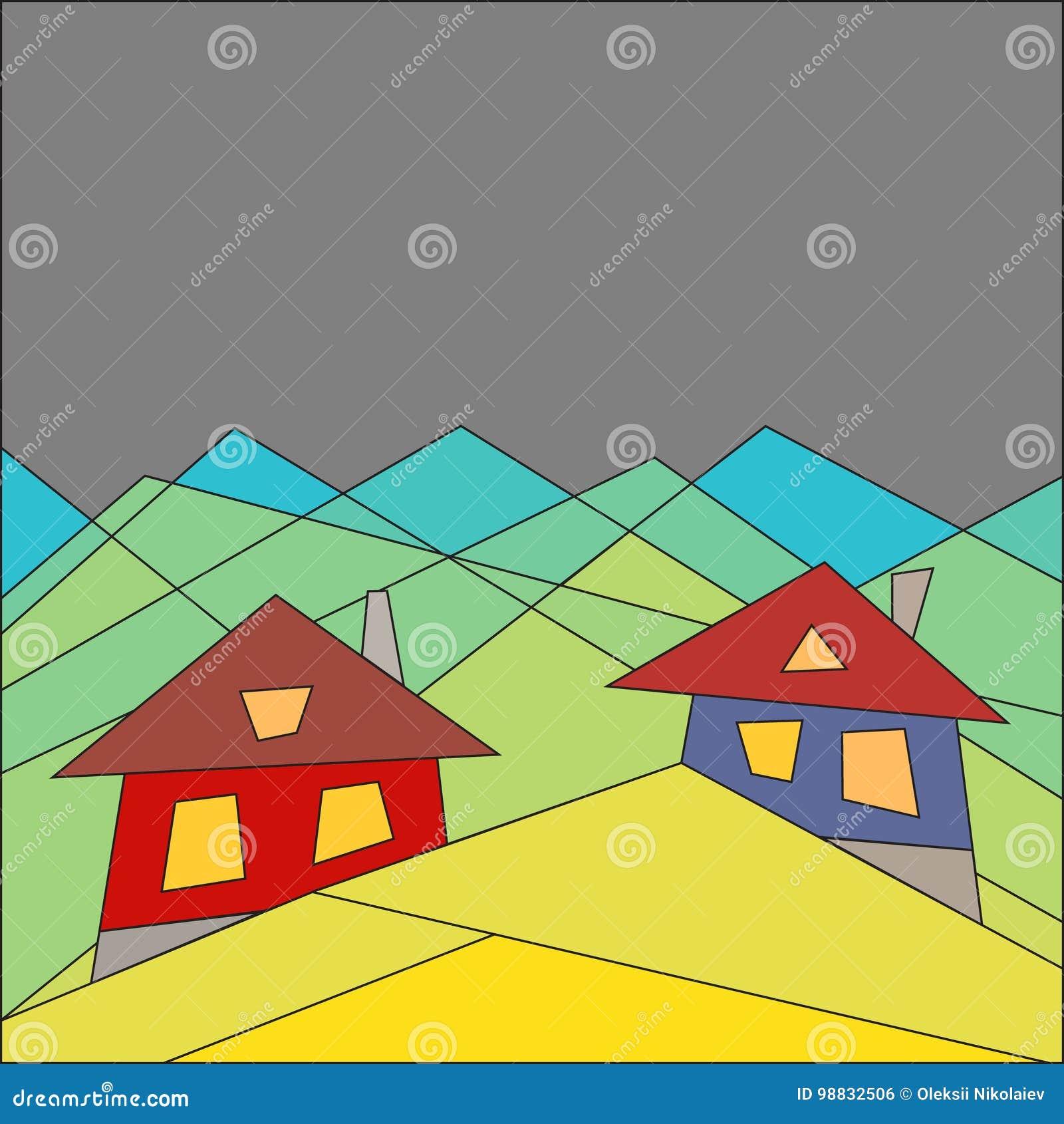 Berglivsstil houses berg Plan stil geometri blå vektor för sky för oklarhetsbildregnbåge