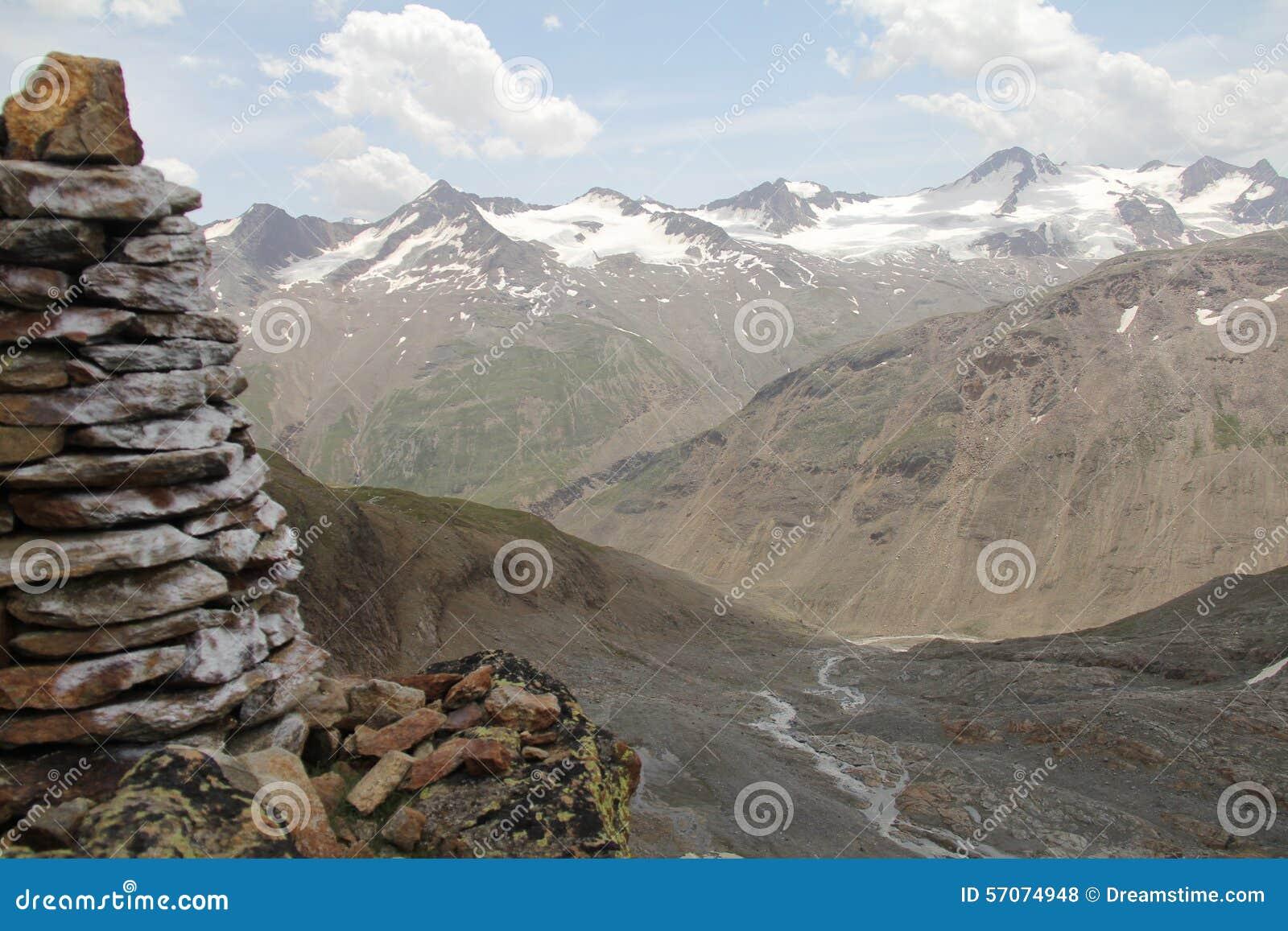 Bergpanorama in otztal alpen, Oostenrijk