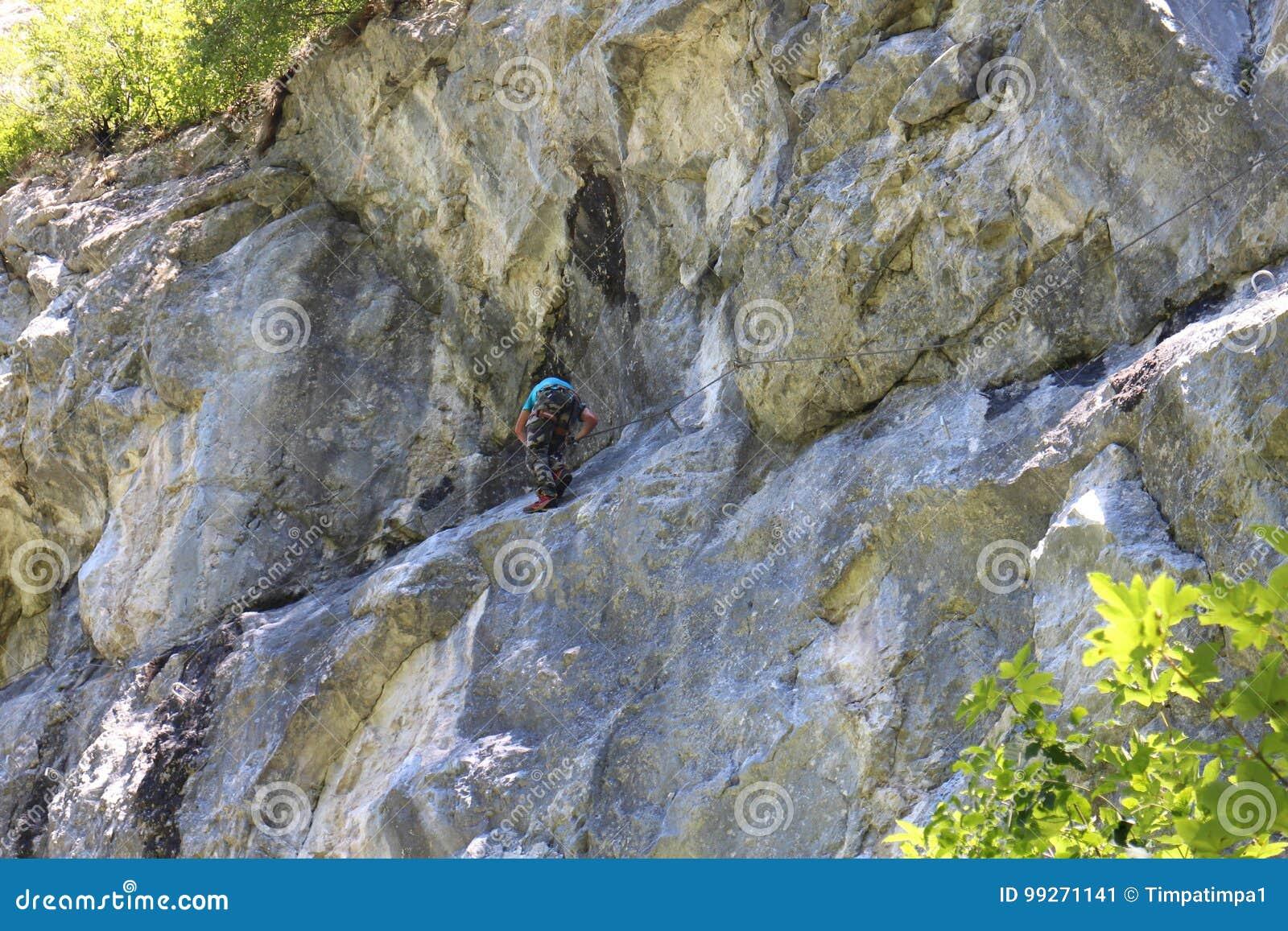 Klettersteig Ferrata : Bergsteiger herein über ferrata trattenbacher klettersteig