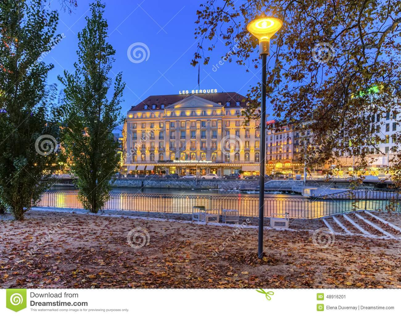 bergues hotel and riverside from rousseau island editorial photo image 48916201. Black Bedroom Furniture Sets. Home Design Ideas
