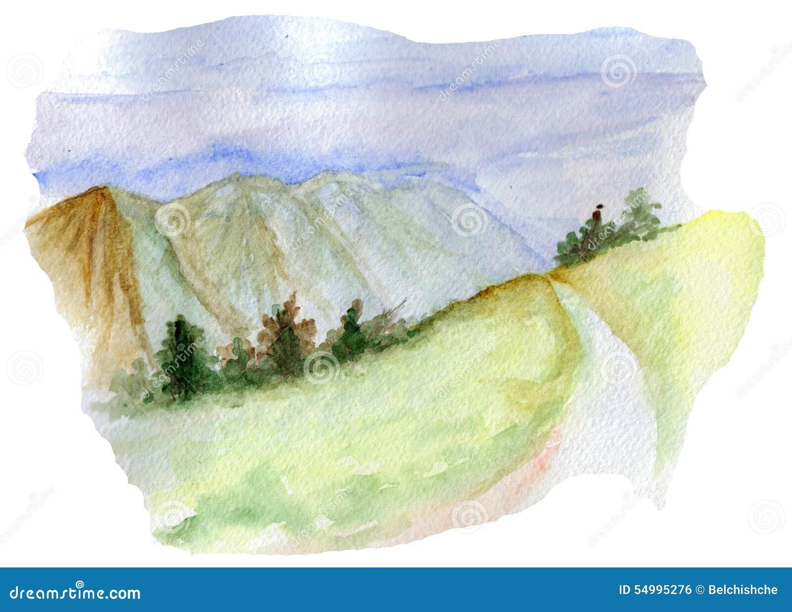 Bergvägvattenfärg