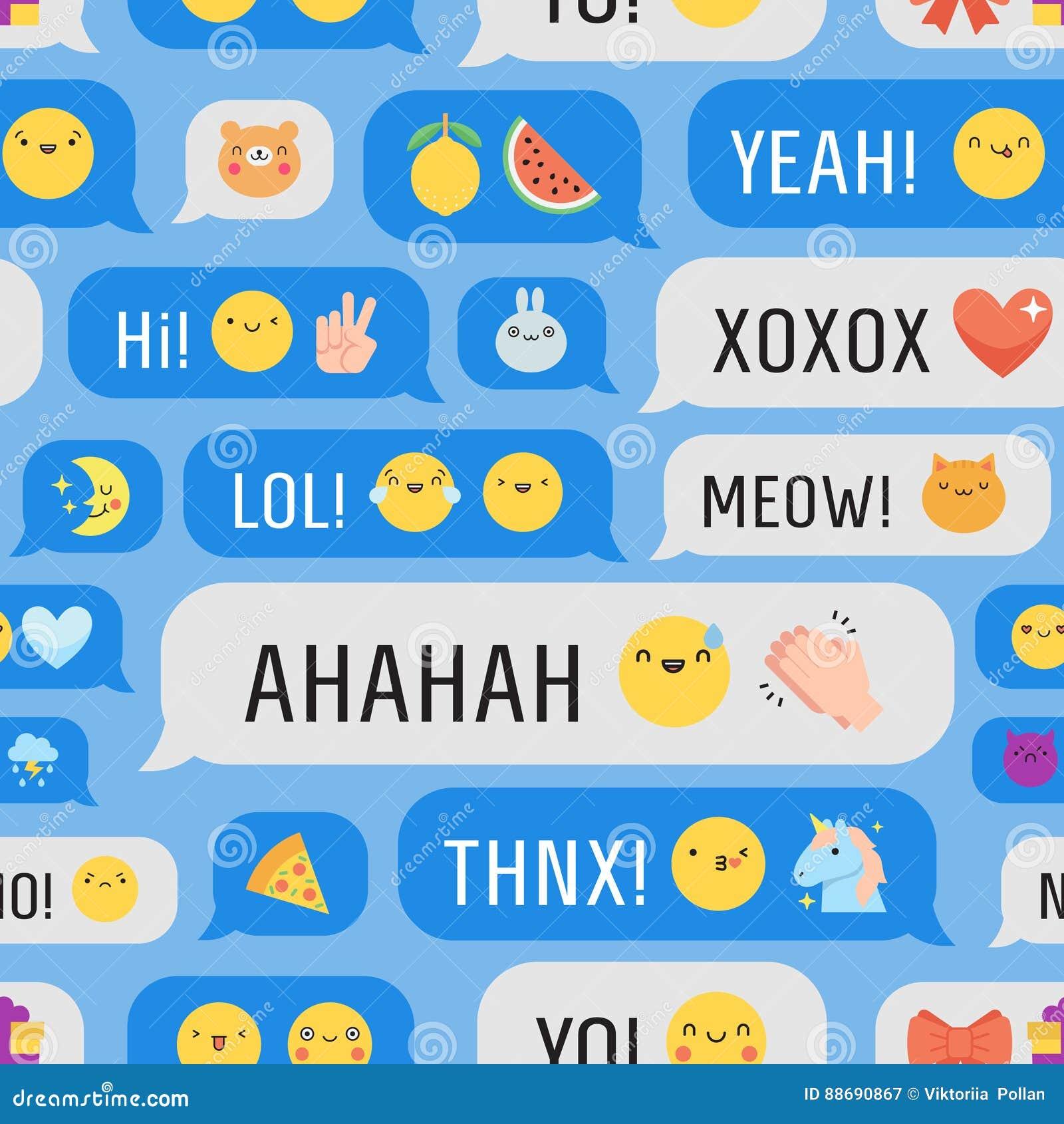 Berichten met leuk emoji naadloos vectorpatroon