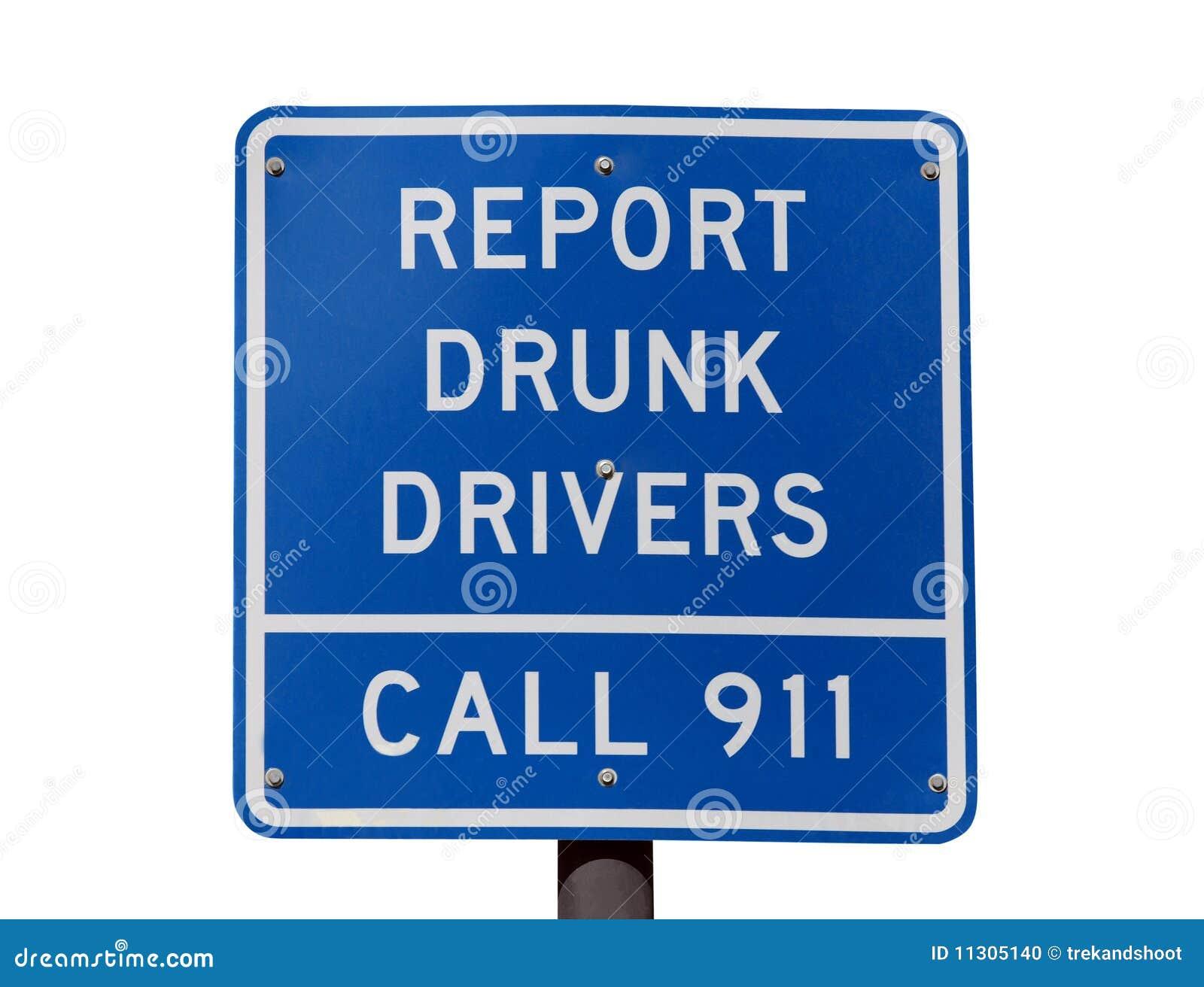 Berichten Sie über betrunkenen Treibern Zeichen