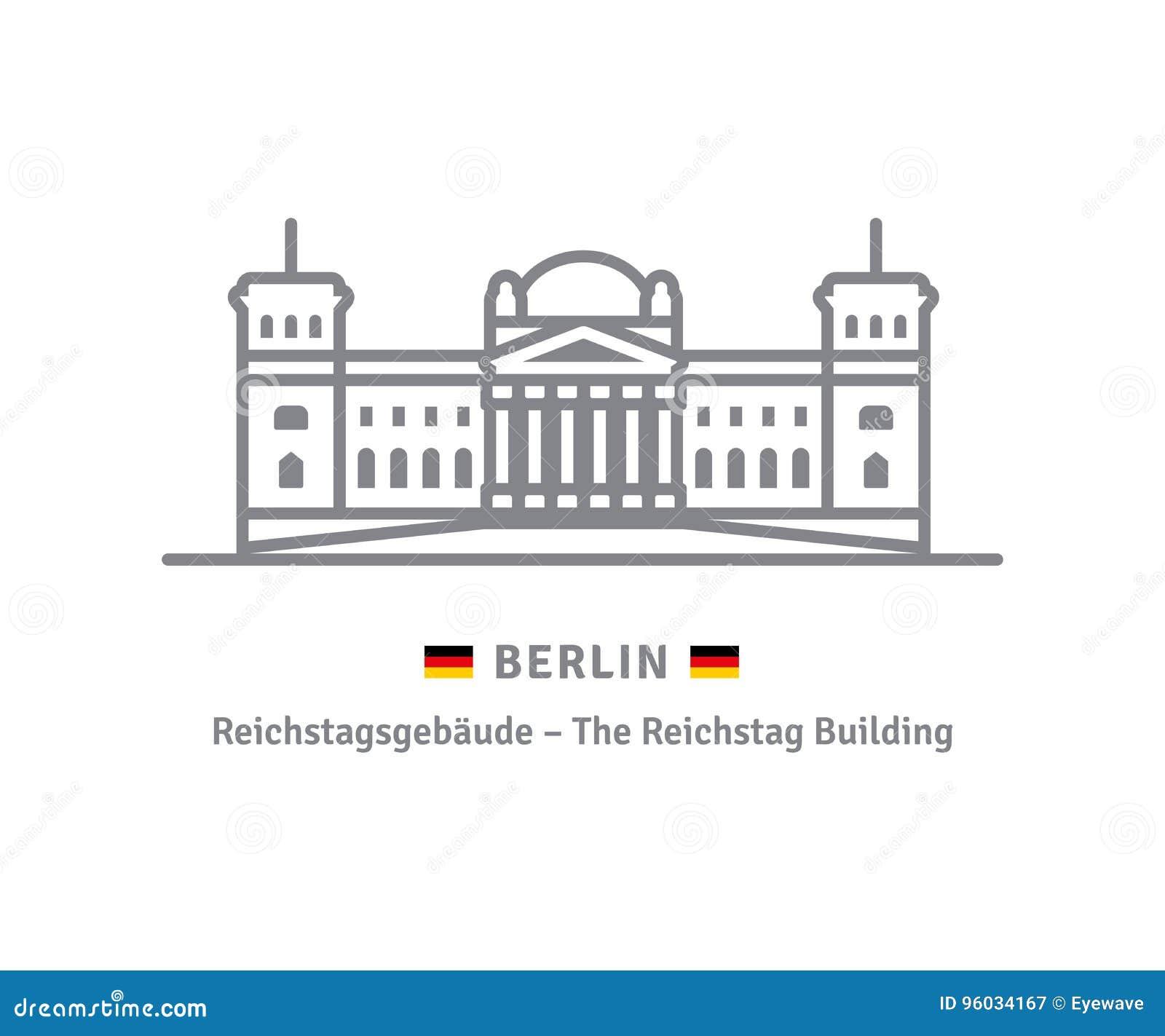 Berlińska ikona z Reichstag budynkiem i niemiec zaznaczamy