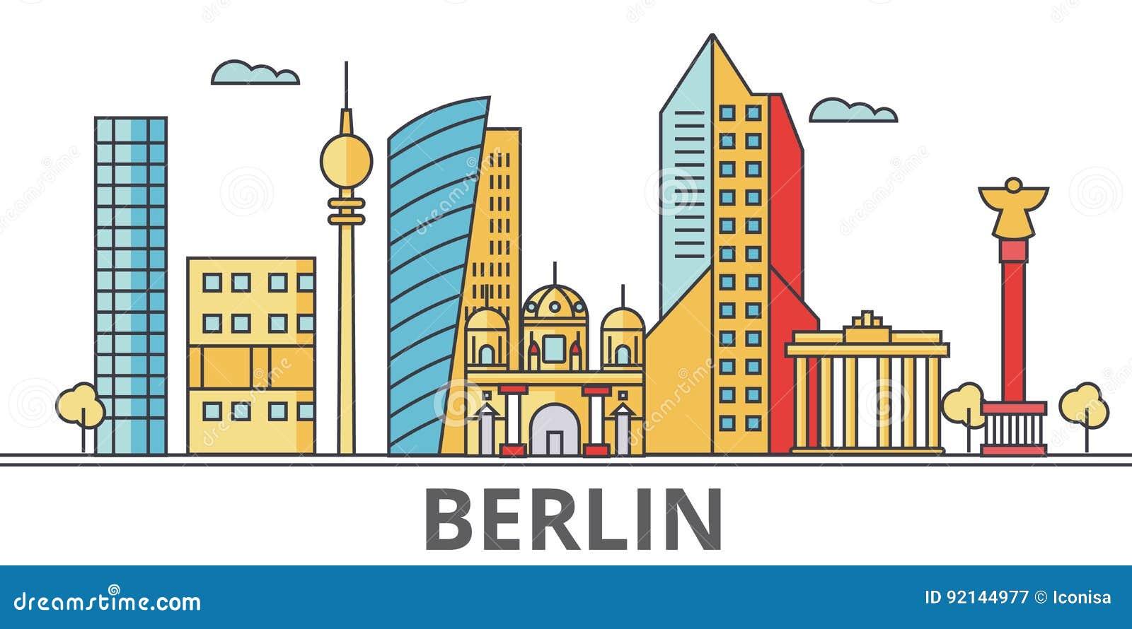 Berlińska miasto linia horyzontu
