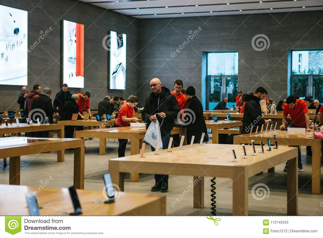 Berlin, December 12, 2017: presentation of the iPhone X and iPhone 8 plus and sales of new Apple products in the