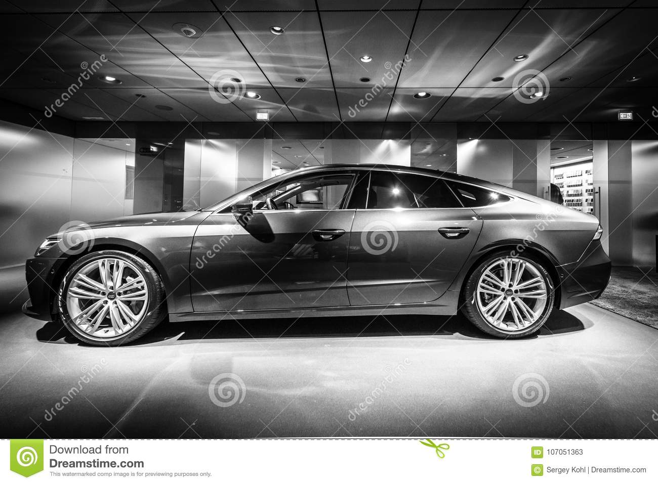 Mid Size Luxury Car Audi A7 Sportback 55 Tfsi Quattro Editorial Automobile S7 Berlin December 21 2017 Showroom Since Black And White