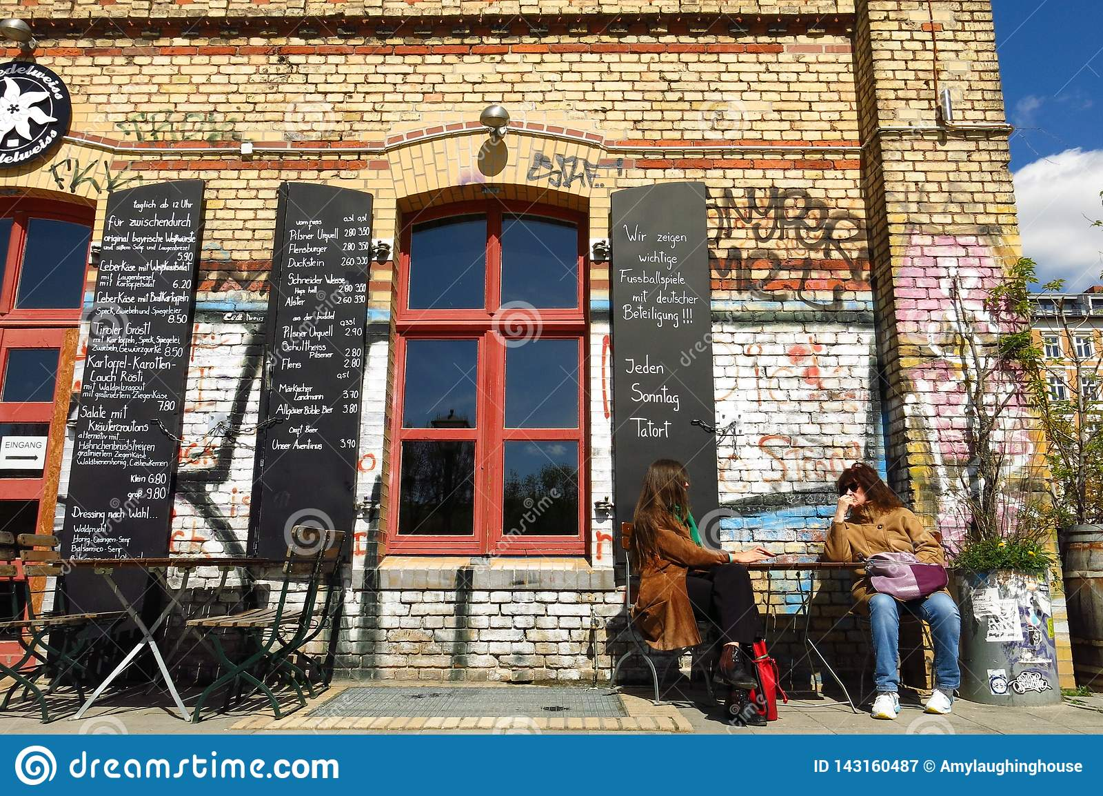 Berlin Graffiti Wall Cafe In Kreuzberg Editorial Photography Image Of Color Lifestyle 143160487