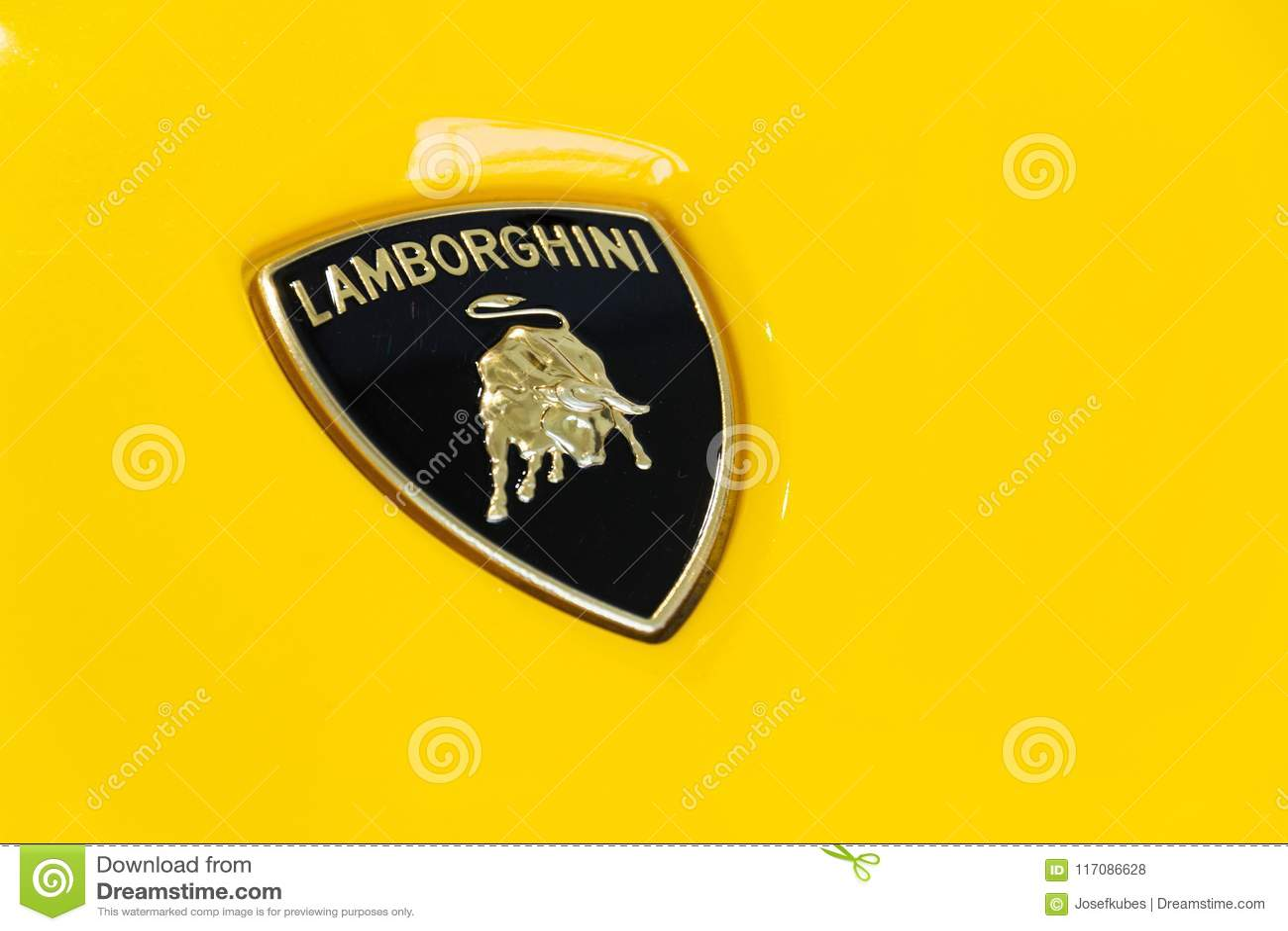 Lamborghini Company Logo On Lamborghini Aventador S Coupe Standing