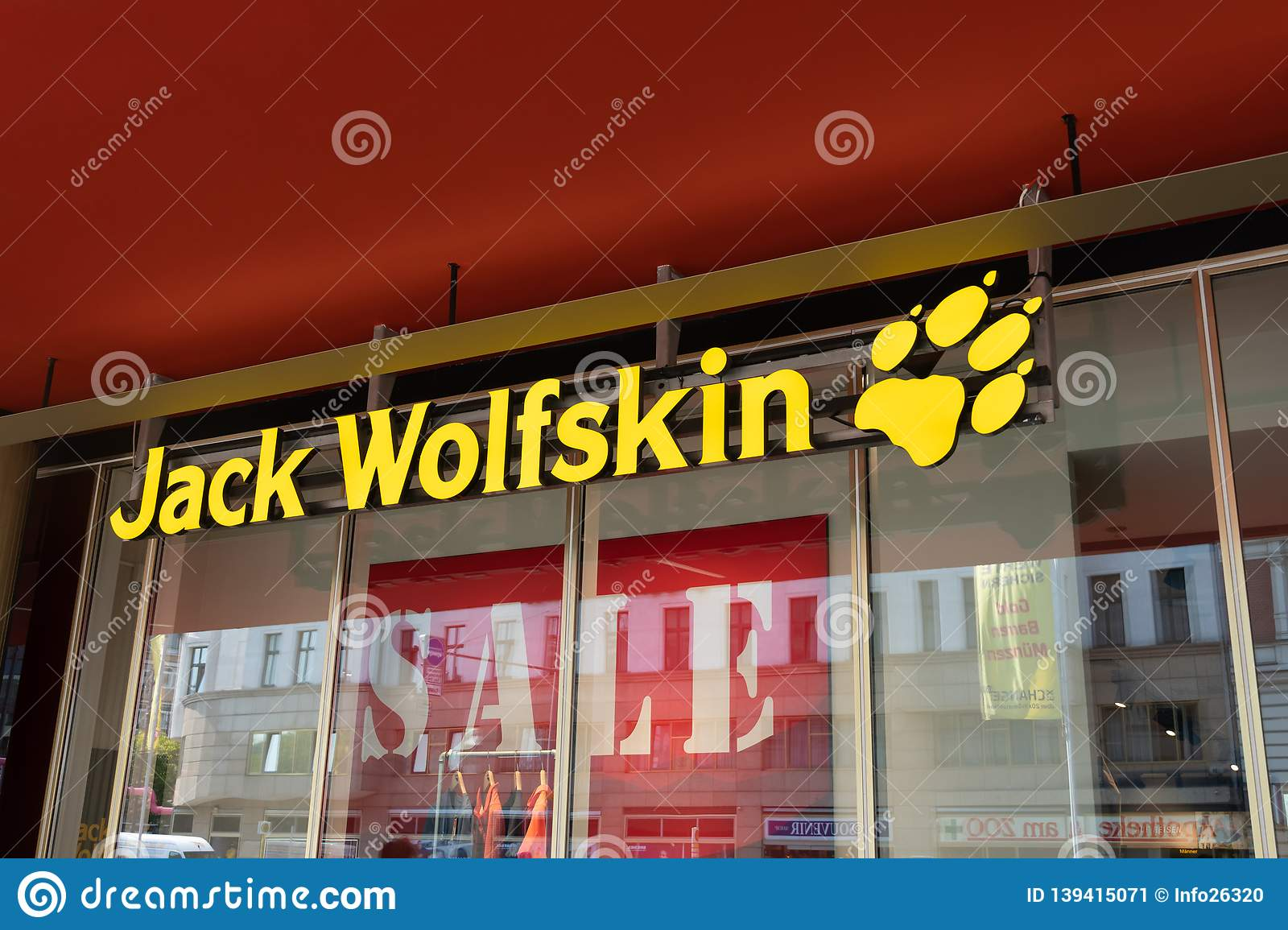 check out e9052 ccd94 Jack Wolfskin shop sign editorial photo. Image of front ...