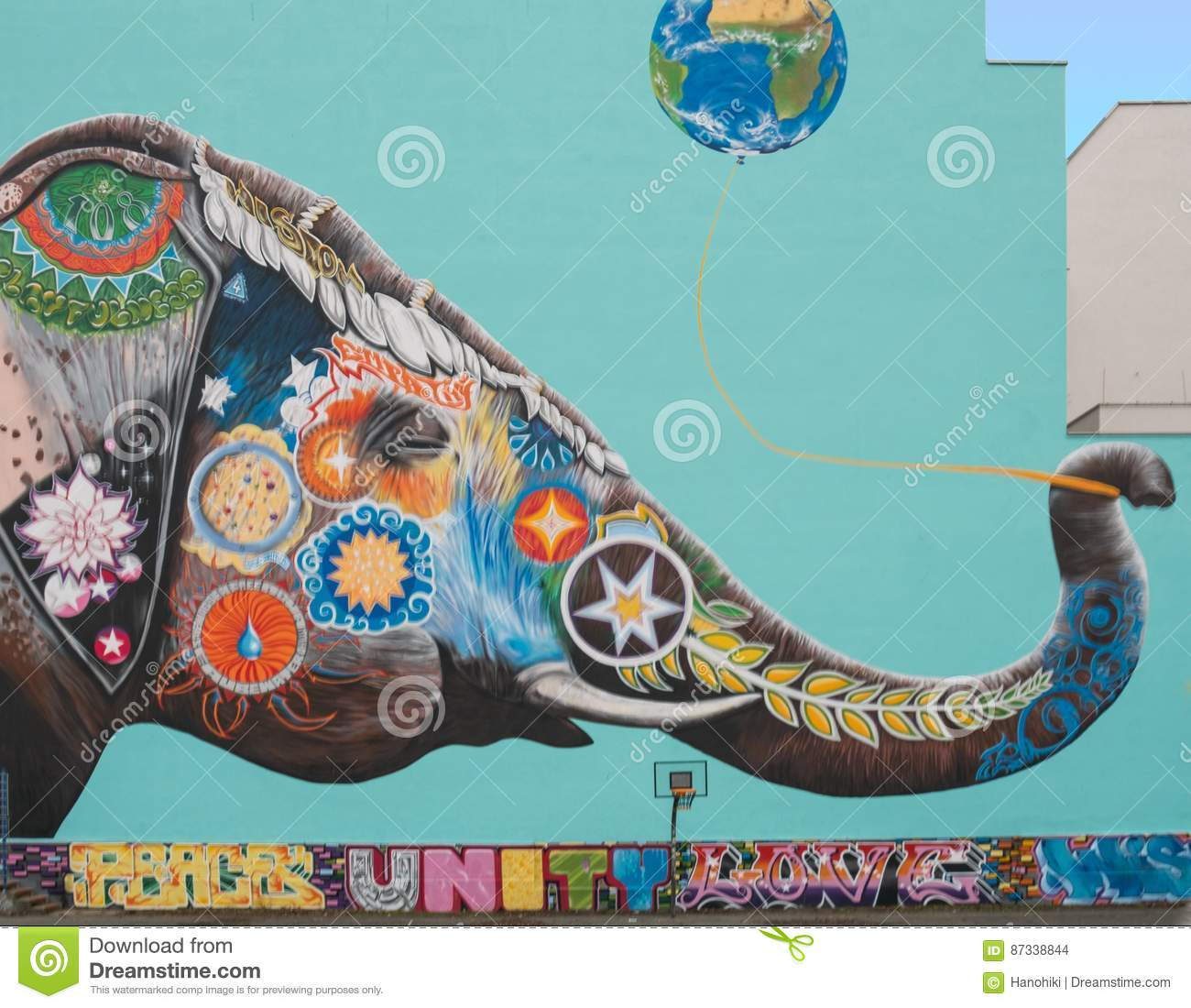 Graffiti Mural Painting Of An Elephant Editorial Stock Image