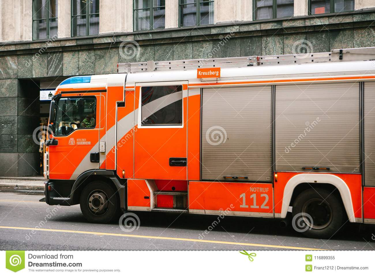 Berlin, Germany 15 February 2018: modern German fire truck moving on the street in the city