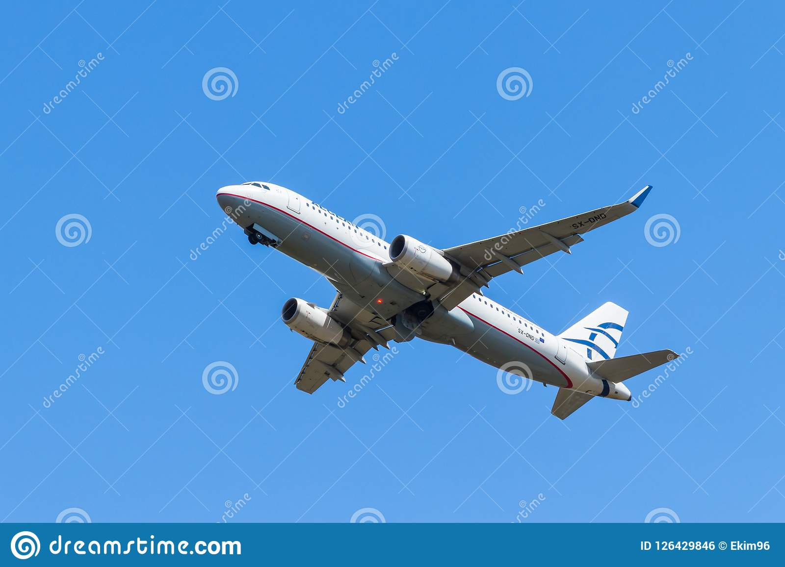 BERLIN, GERMANY - JULY 7, 2018: Aegean Airlines, Airbus A320-232 takes off from Tegel airport in Berlin.