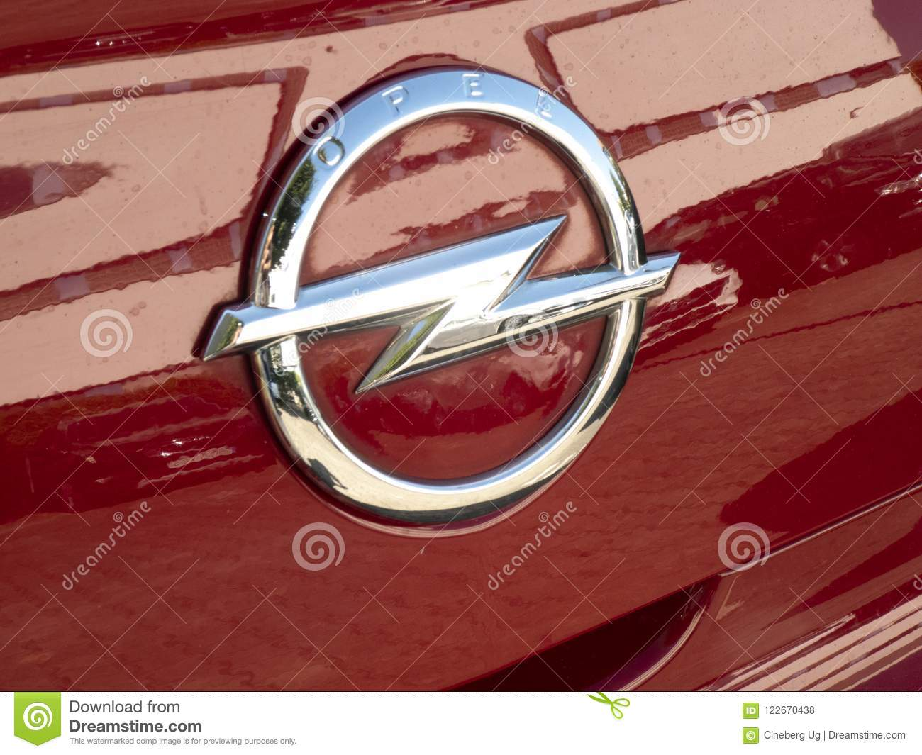Opel Symbol On A Red Car Editorial Stock Photo Image Of Logo