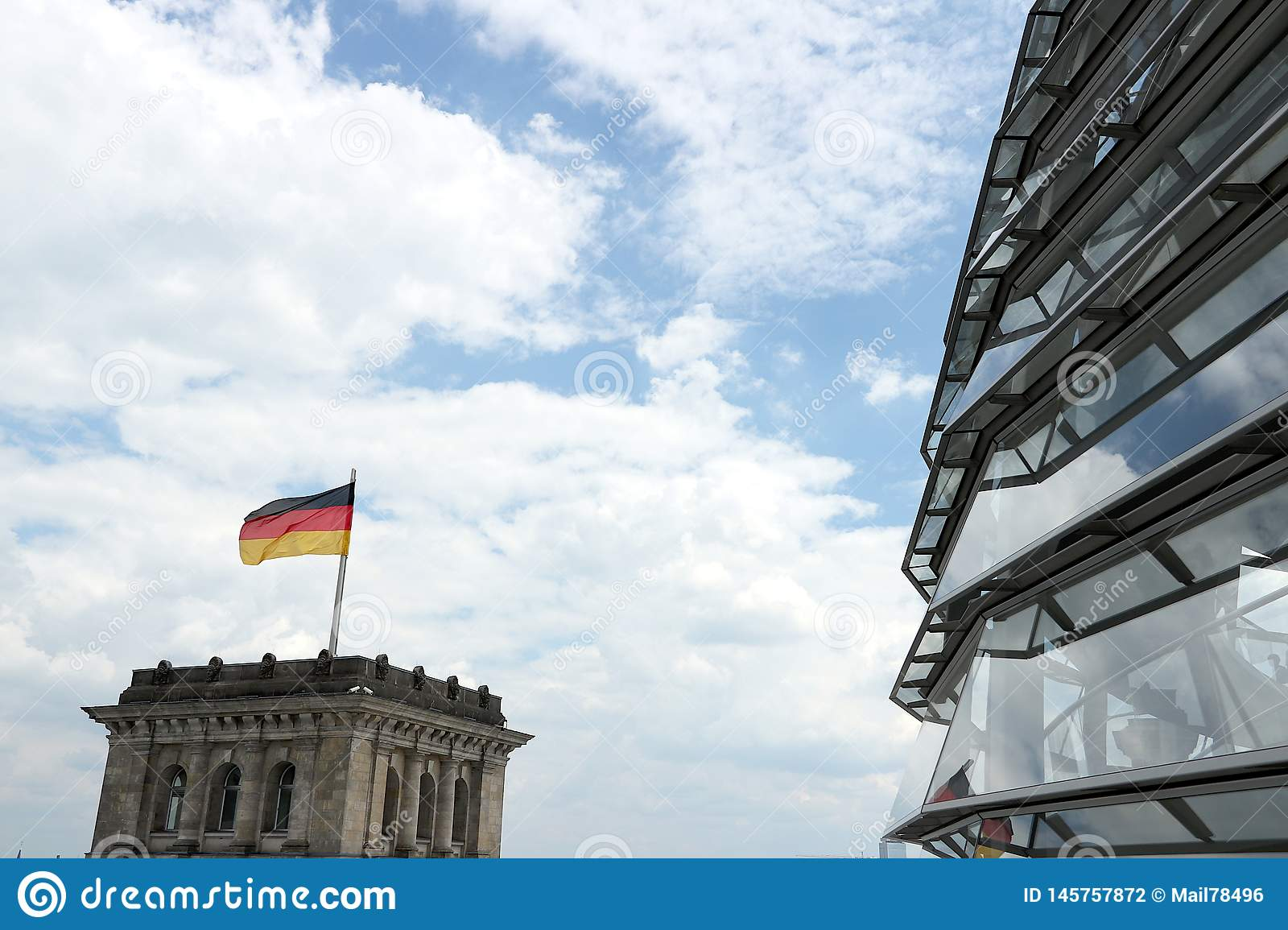 Berlin, Germany, 13 June 2018. The new dome of the Bundestag with the path for visitors